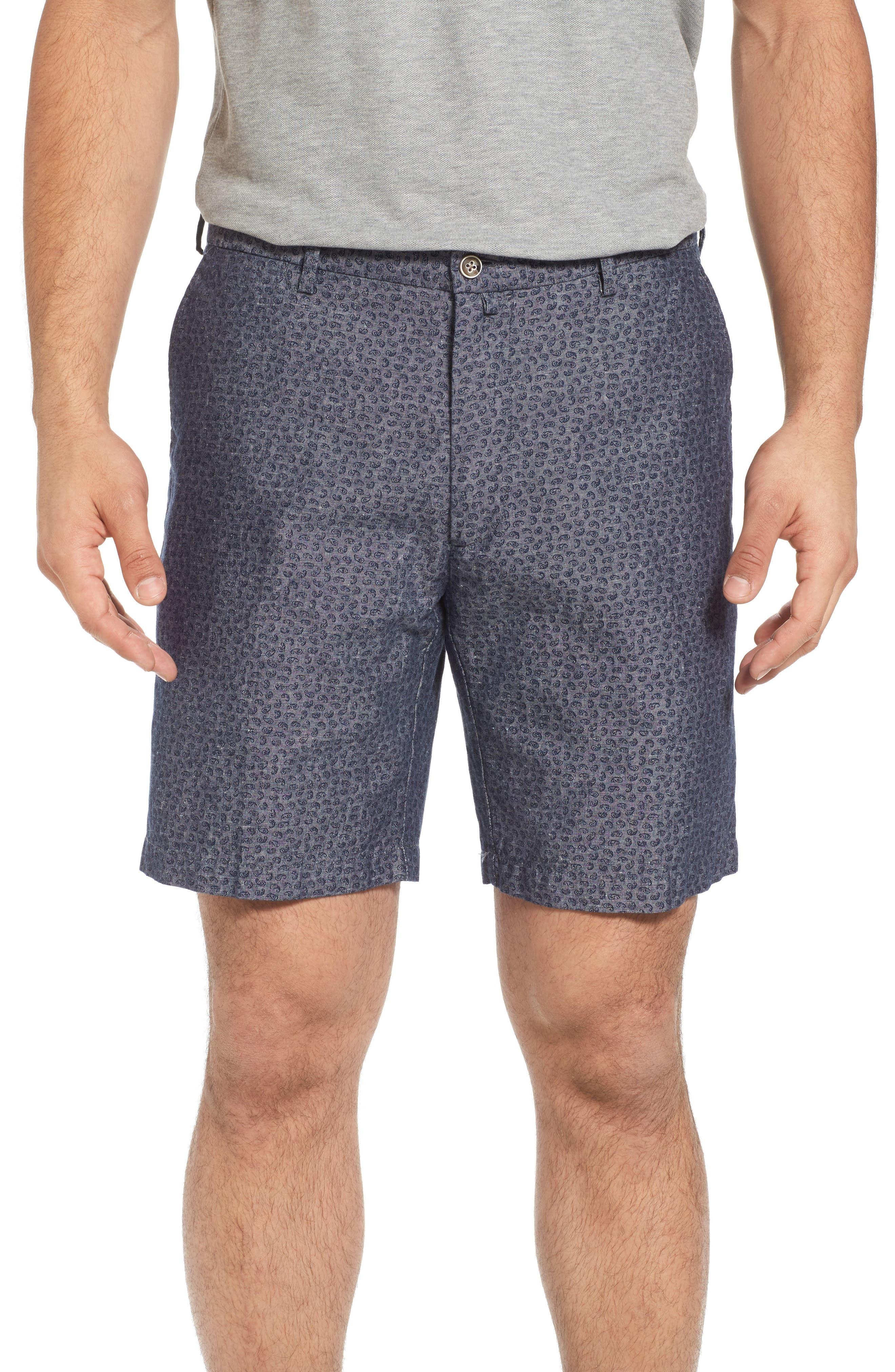 Paisley Chambray Flat Front Shorts,                         Main,                         color, Dark Grey
