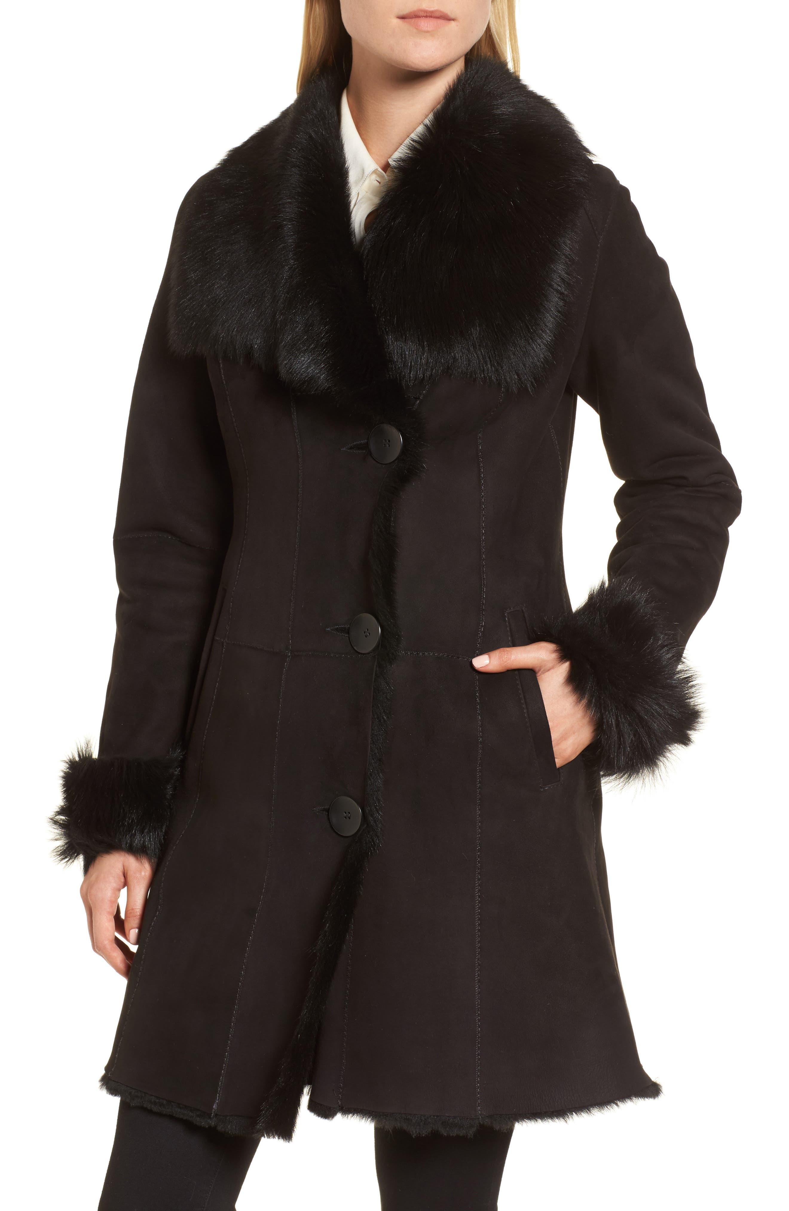 Genuine Shearling Coat,                             Alternate thumbnail 4, color,                             Black Brisa