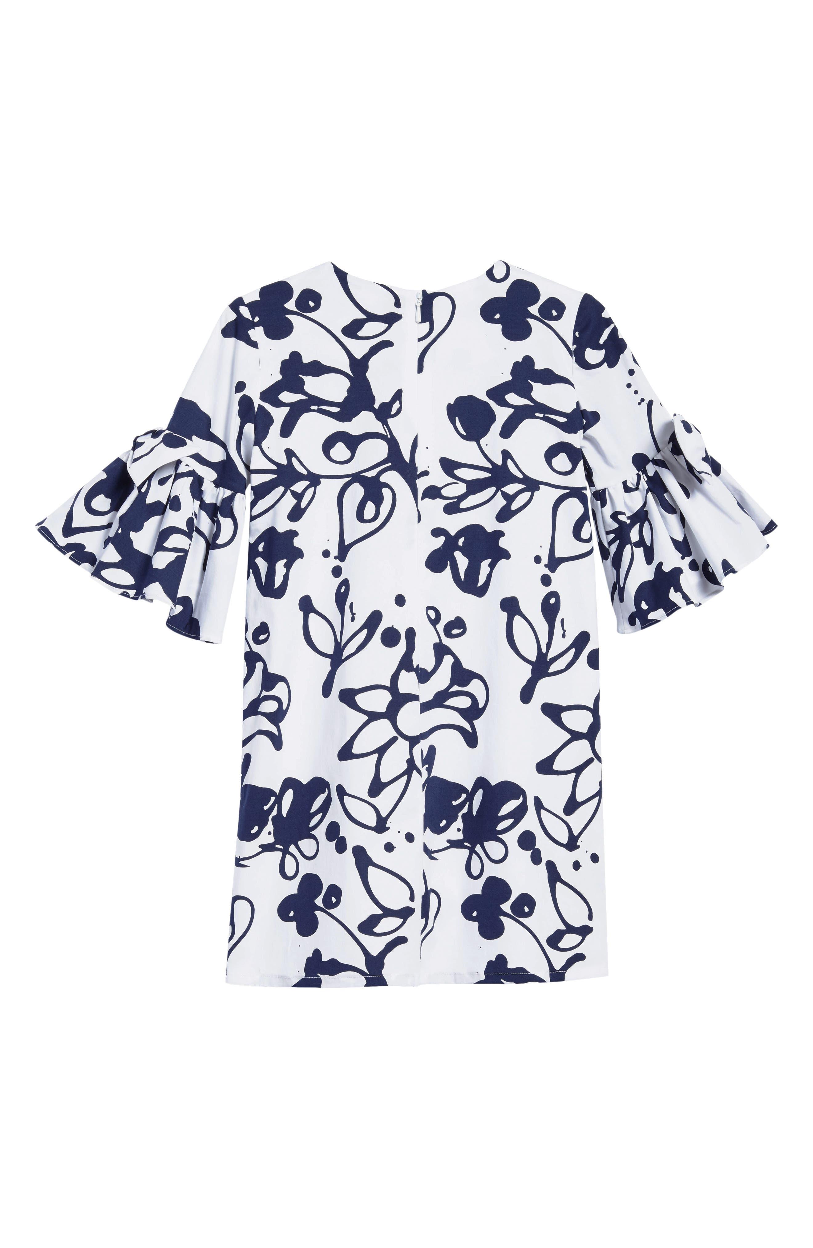 Scribbles Bell Sleeve Dress,                             Alternate thumbnail 2, color,                             White/ Navy