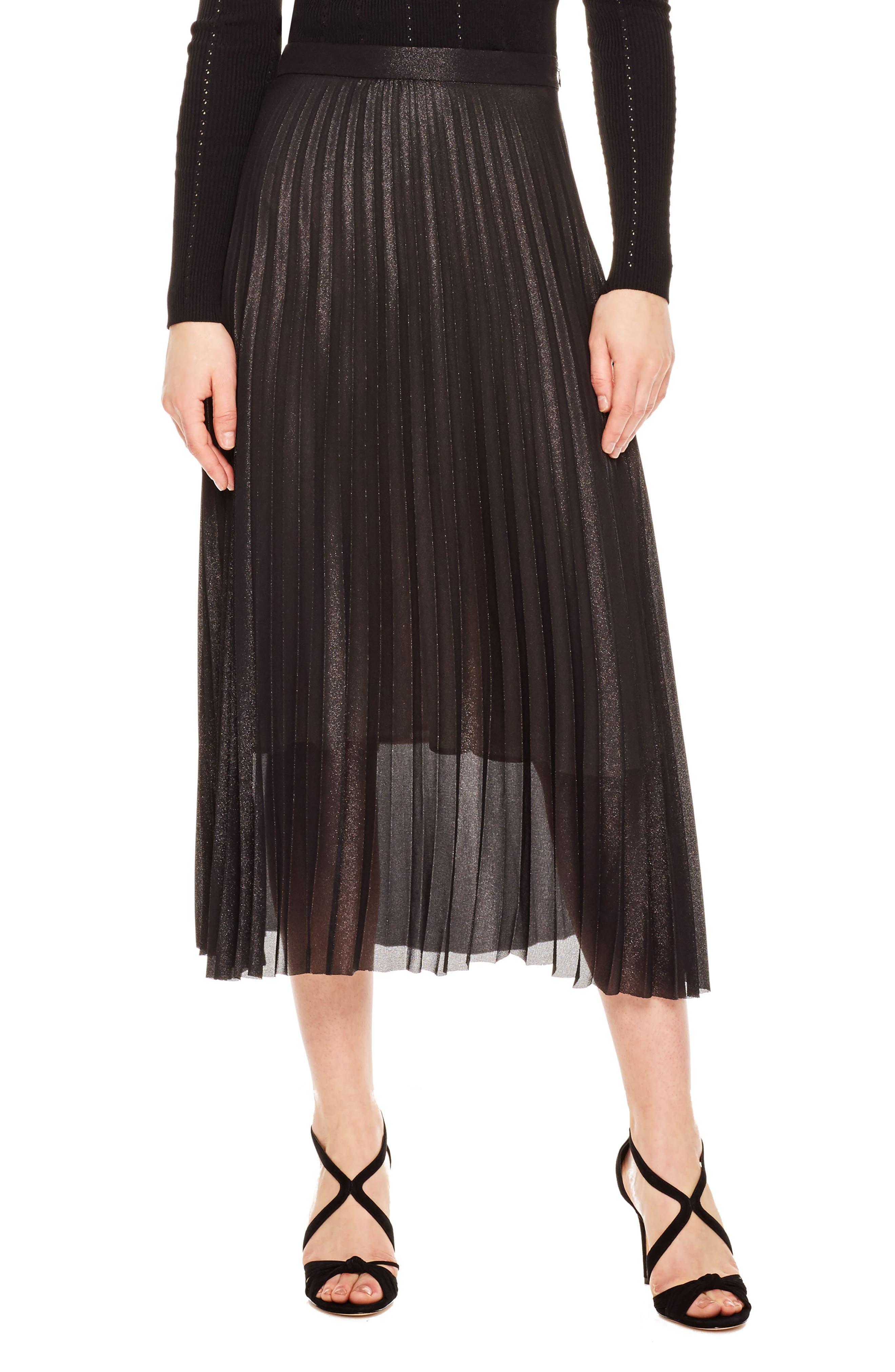 Delphina Pleat Midi Skirt,                         Main,                         color, Black