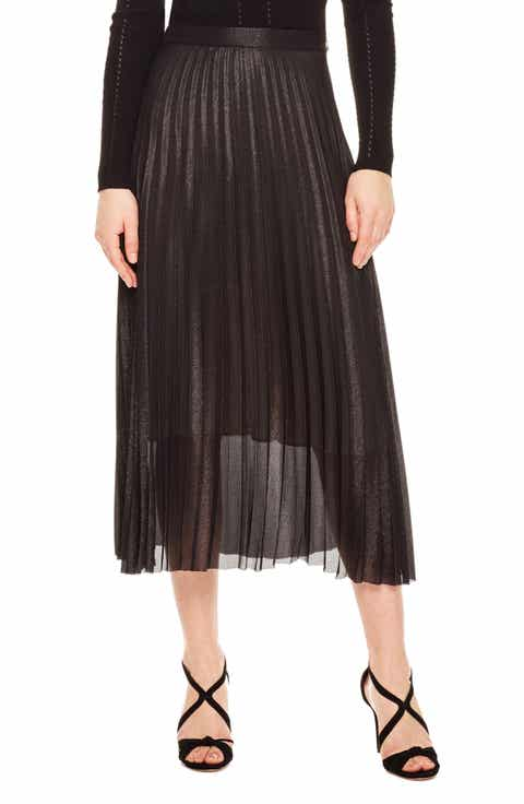sandro Delphina Pleat Midi Skirt