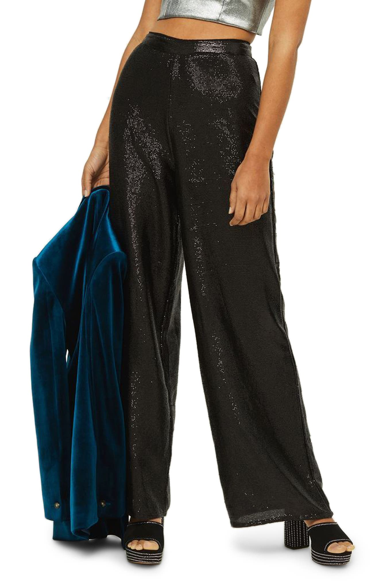Premium Sequin Wide Leg Trousers,                             Main thumbnail 1, color,                             Black