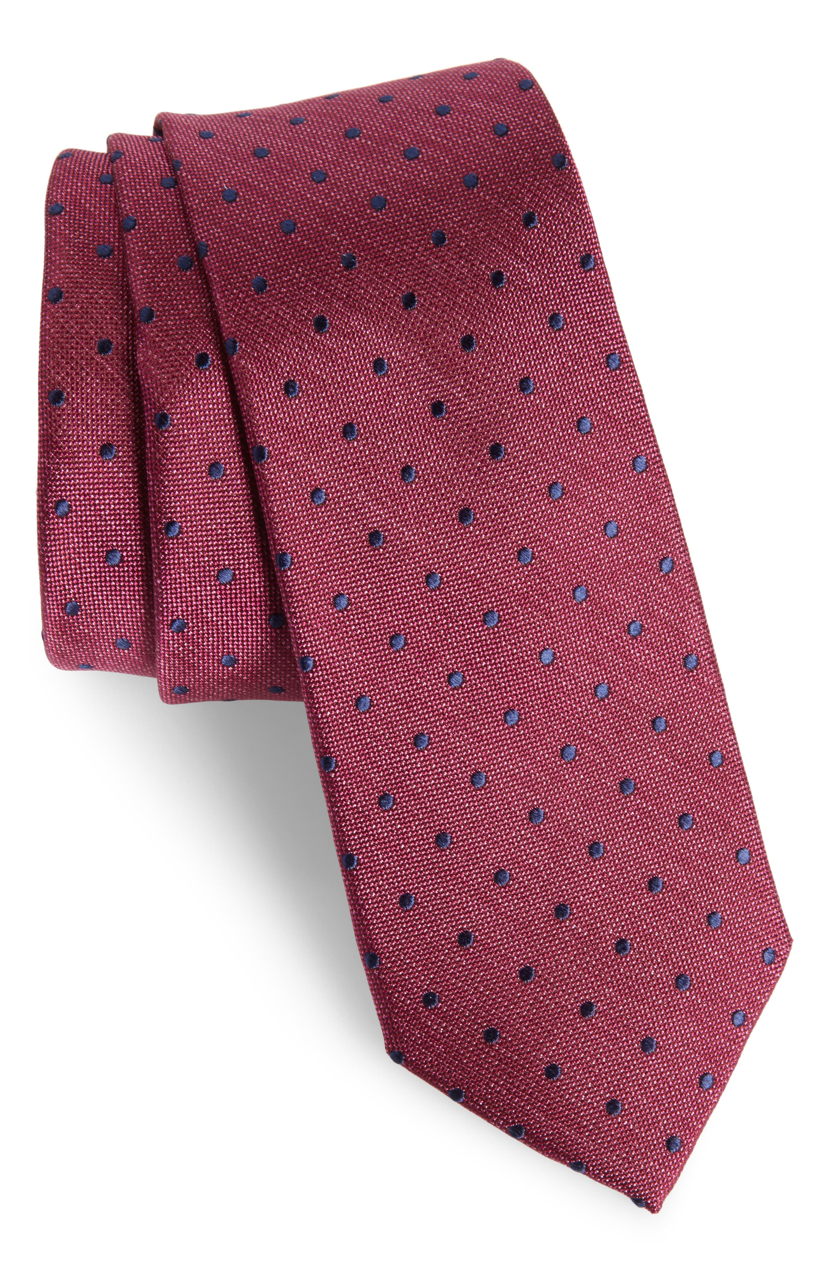 Whitney Dot Silk Tie,                             Main thumbnail 1, color,                             Berry
