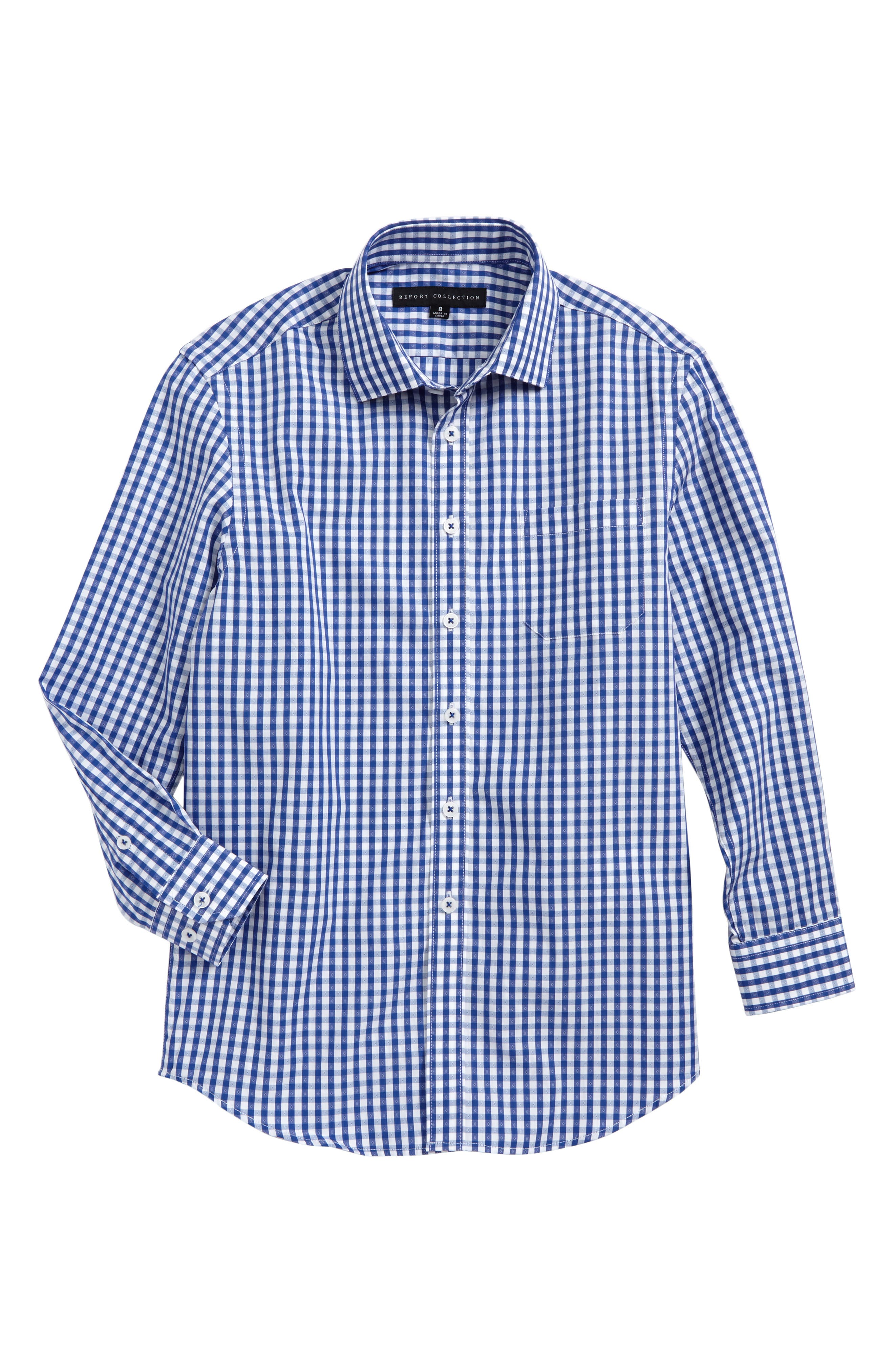 Main Image - Report Collection Check Print Dress Shirt (Big Boys)