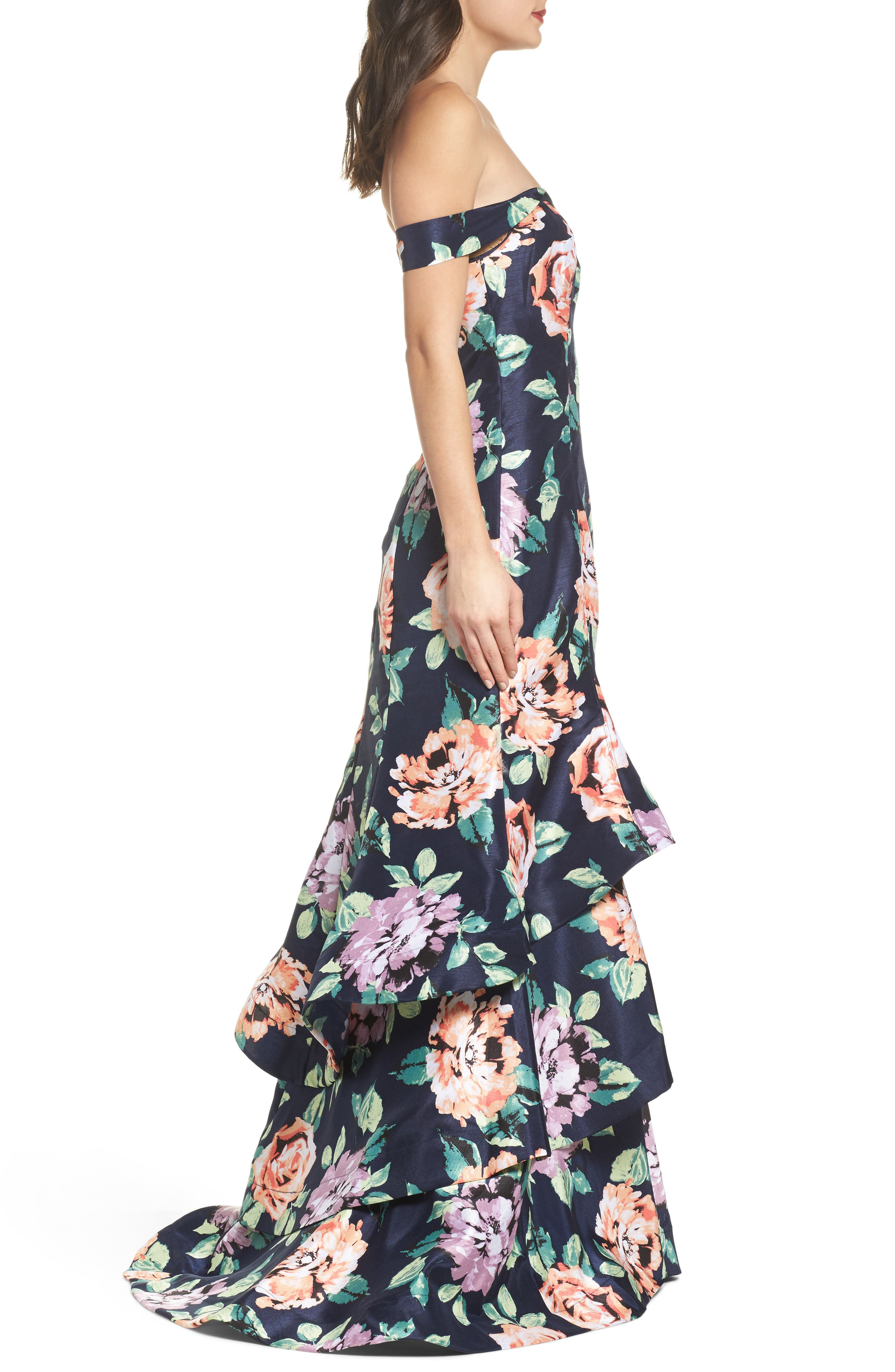 Print Shantung Off the Shoulder Gown,                             Alternate thumbnail 3, color,                             Navy/ Peach