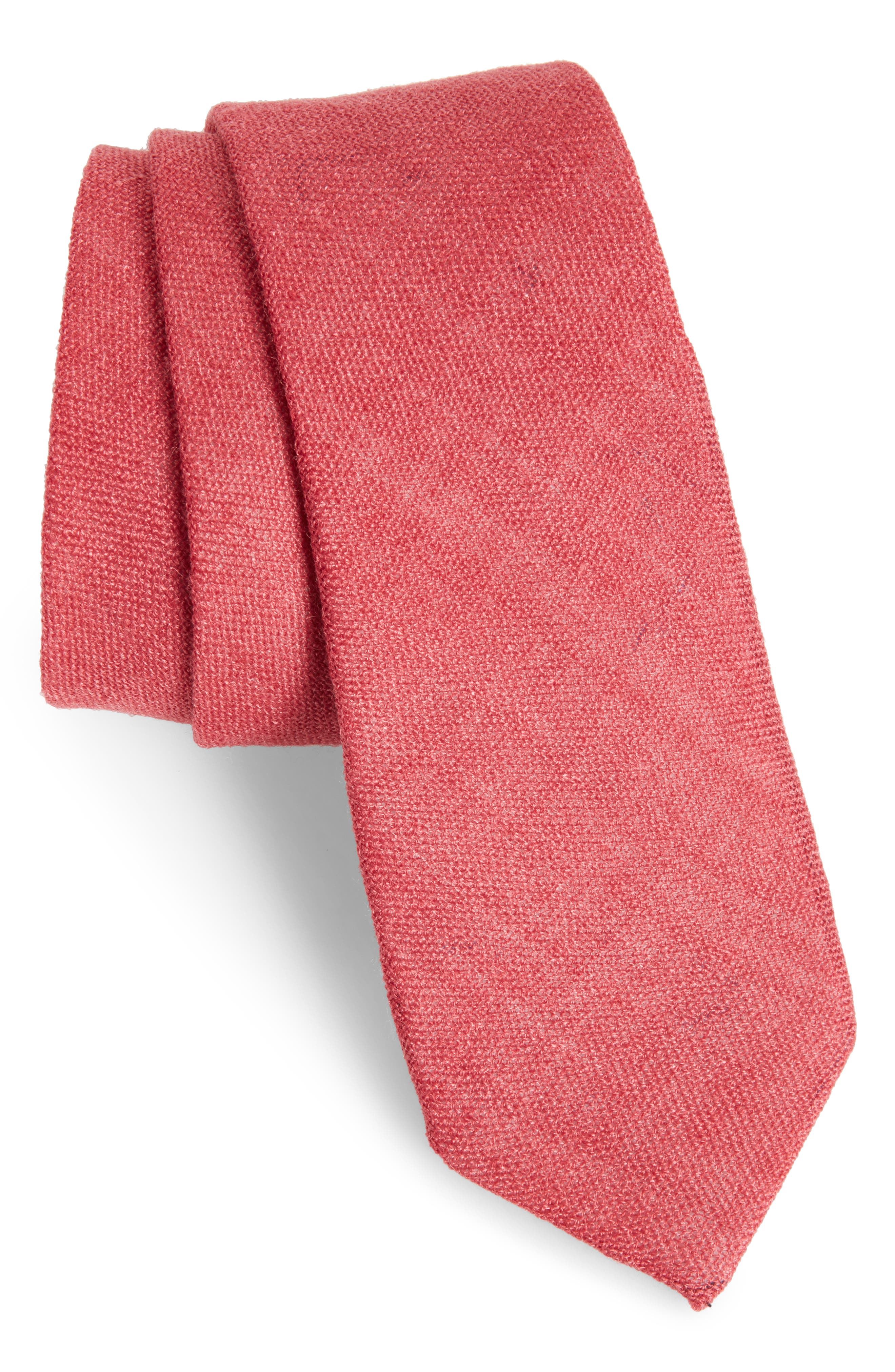 Bradford Solid Cotton Skinny Tie,                             Main thumbnail 1, color,                             Red