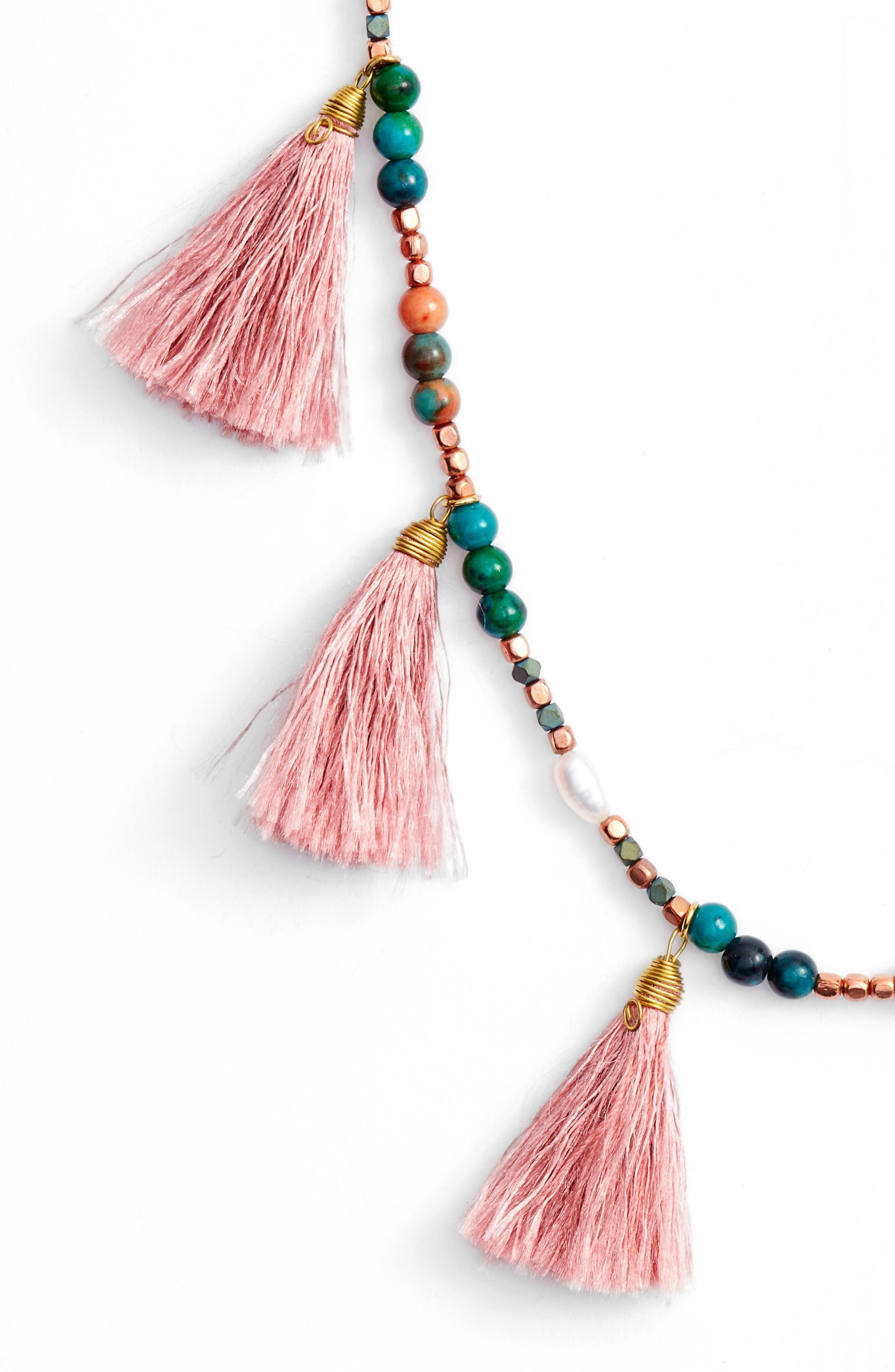 Tiny Tassel Beaded Necklace,                             Alternate thumbnail 2, color,                             Teal
