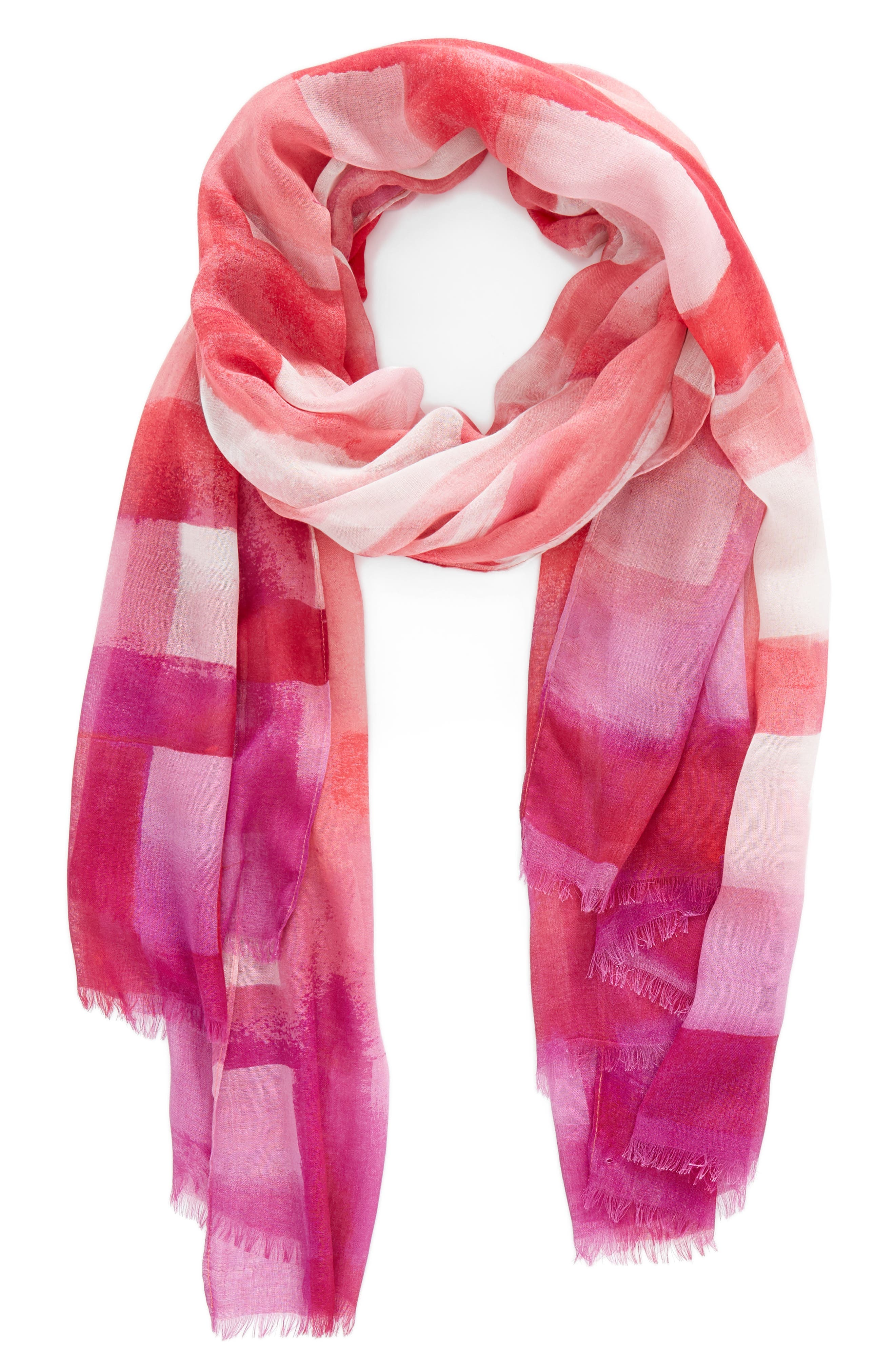 Print Modal & Silk Scarf,                             Alternate thumbnail 2, color,                             Pink Painted Gingham Print
