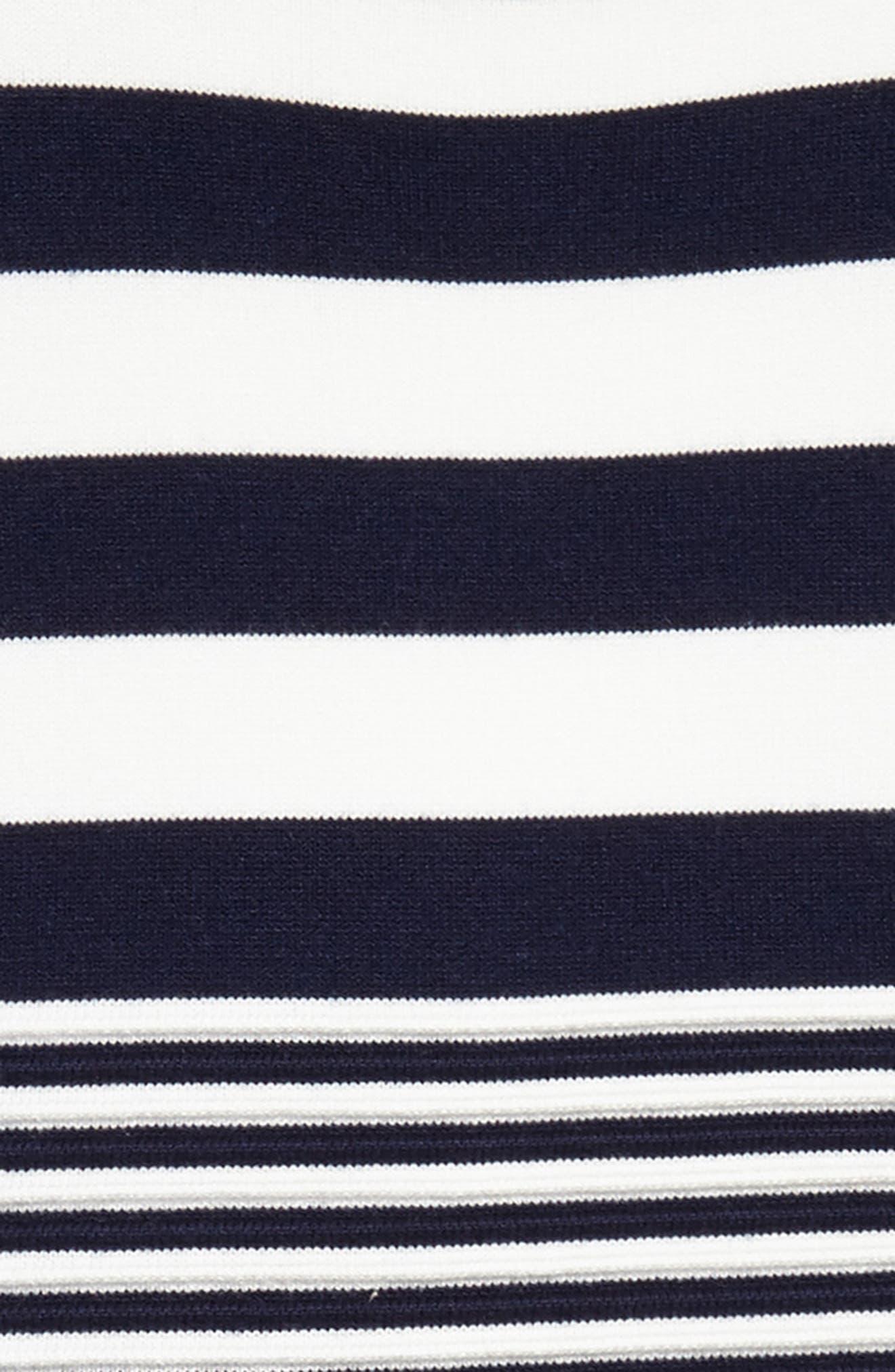 Stripe Sleeveless Dress,                             Alternate thumbnail 3, color,                             White/ Navy