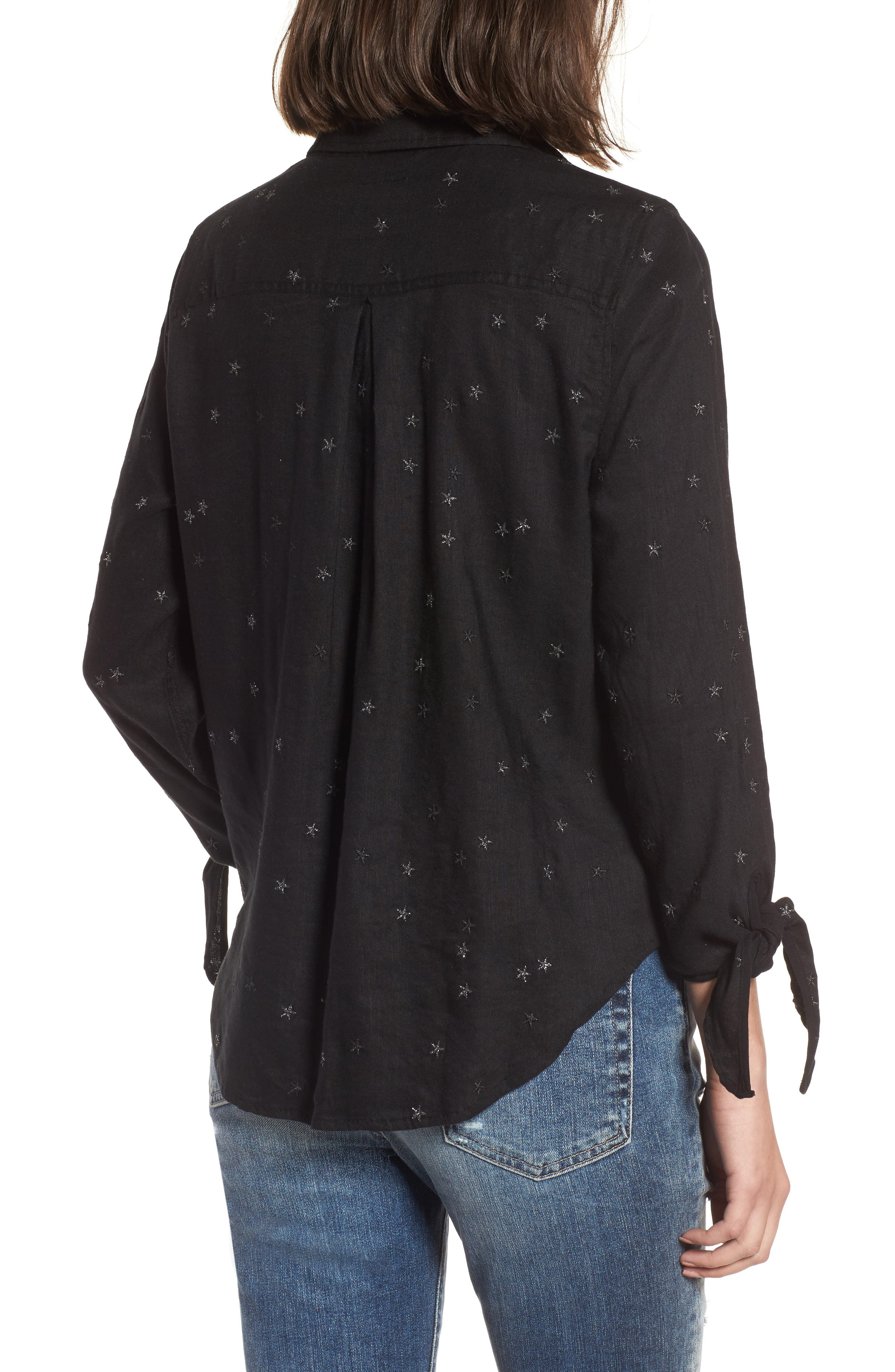 Robyn Shirt,                             Alternate thumbnail 2, color,                             Black With Stars