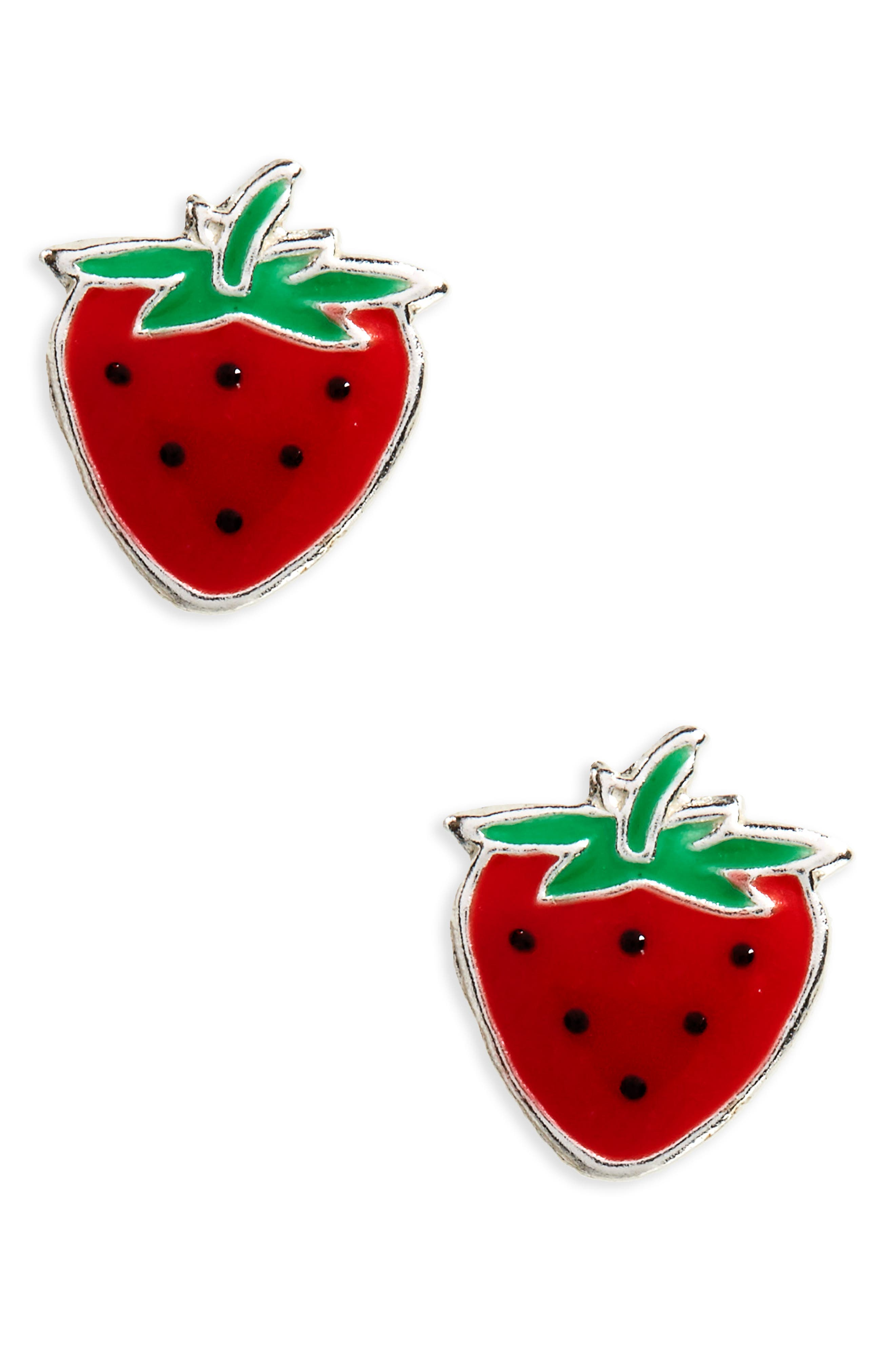 Strawberry Sterling Silver Stud Earrings,                             Main thumbnail 1, color,                             Red/ Green