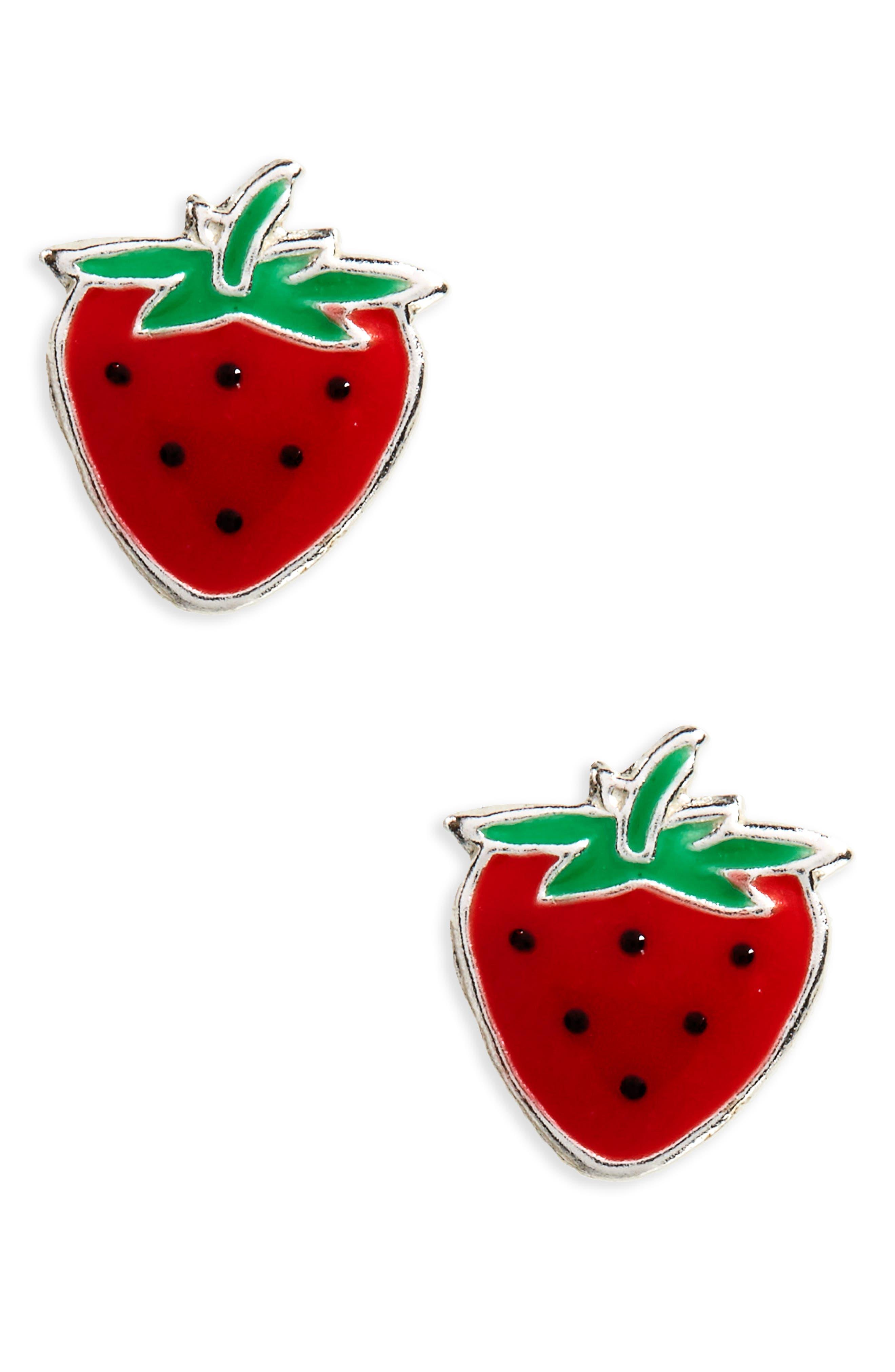 Tomas Strawberry Sterling Silver Stud Earrings (Girls)