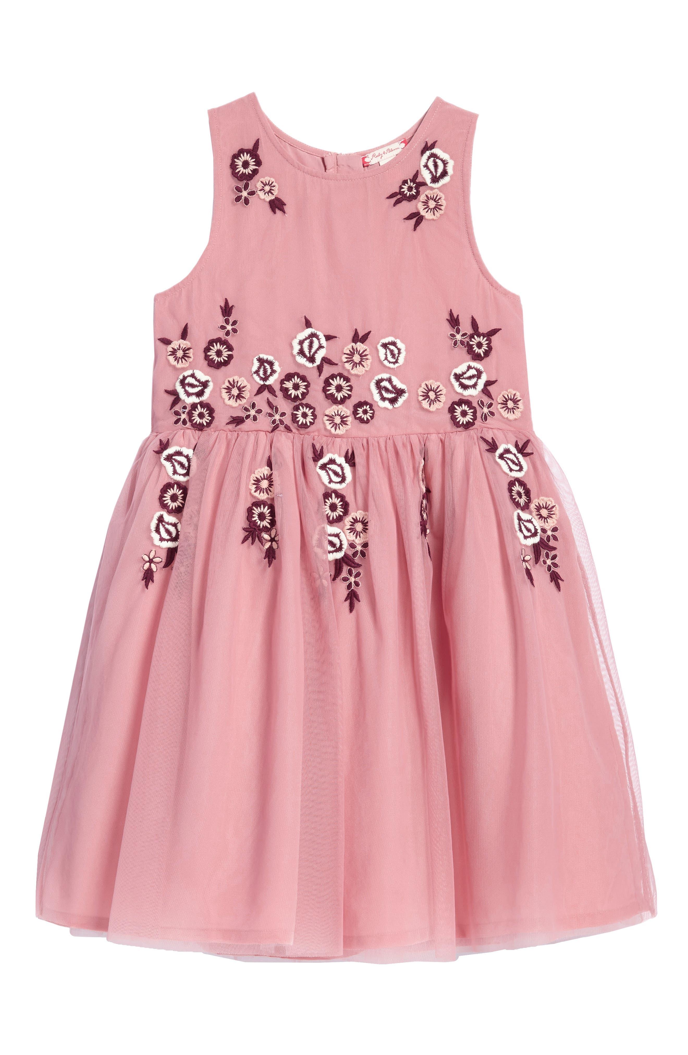 Main Image - Ruby & Bloom Flower Embroidered Dress (Toddler Girls, Little Girls & Big Girls)