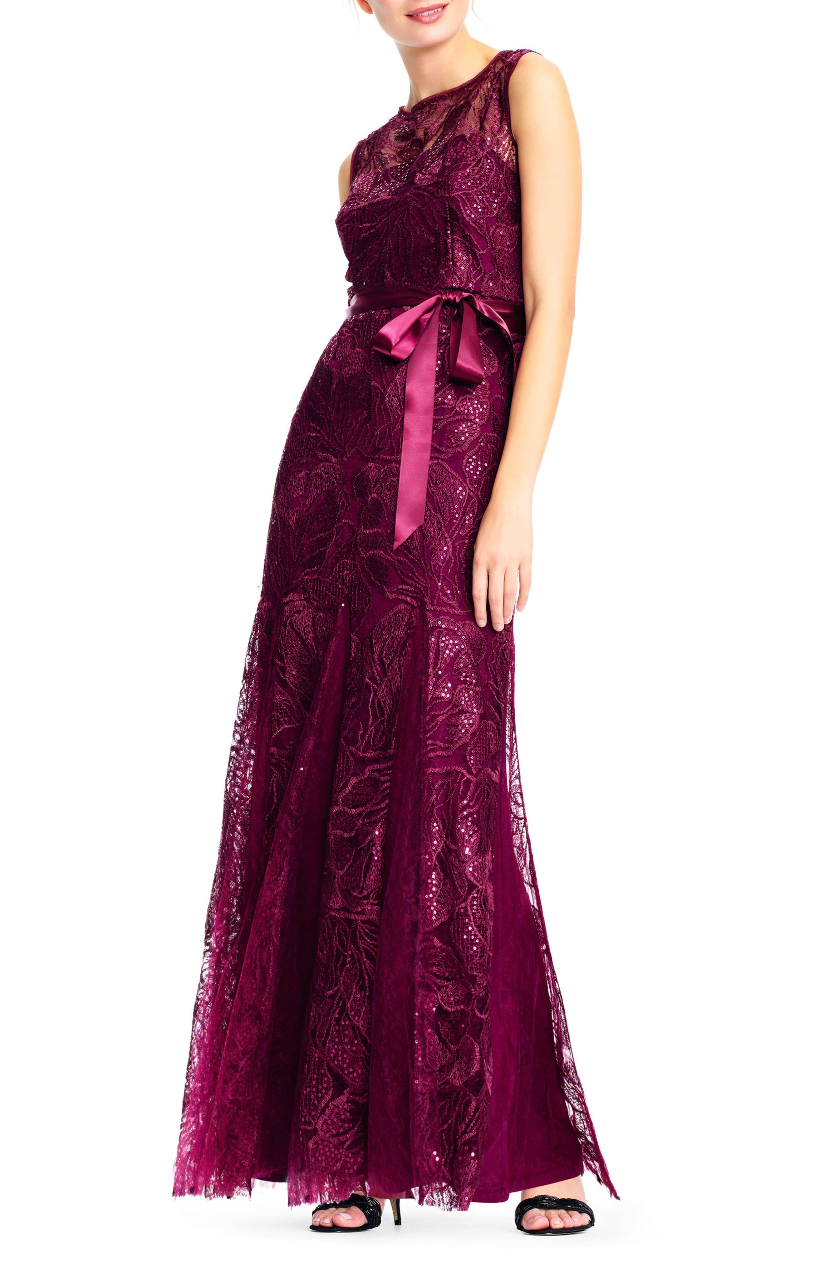 Tie Waist Sequin Lace Gown,                             Alternate thumbnail 3, color,                             Cabernet