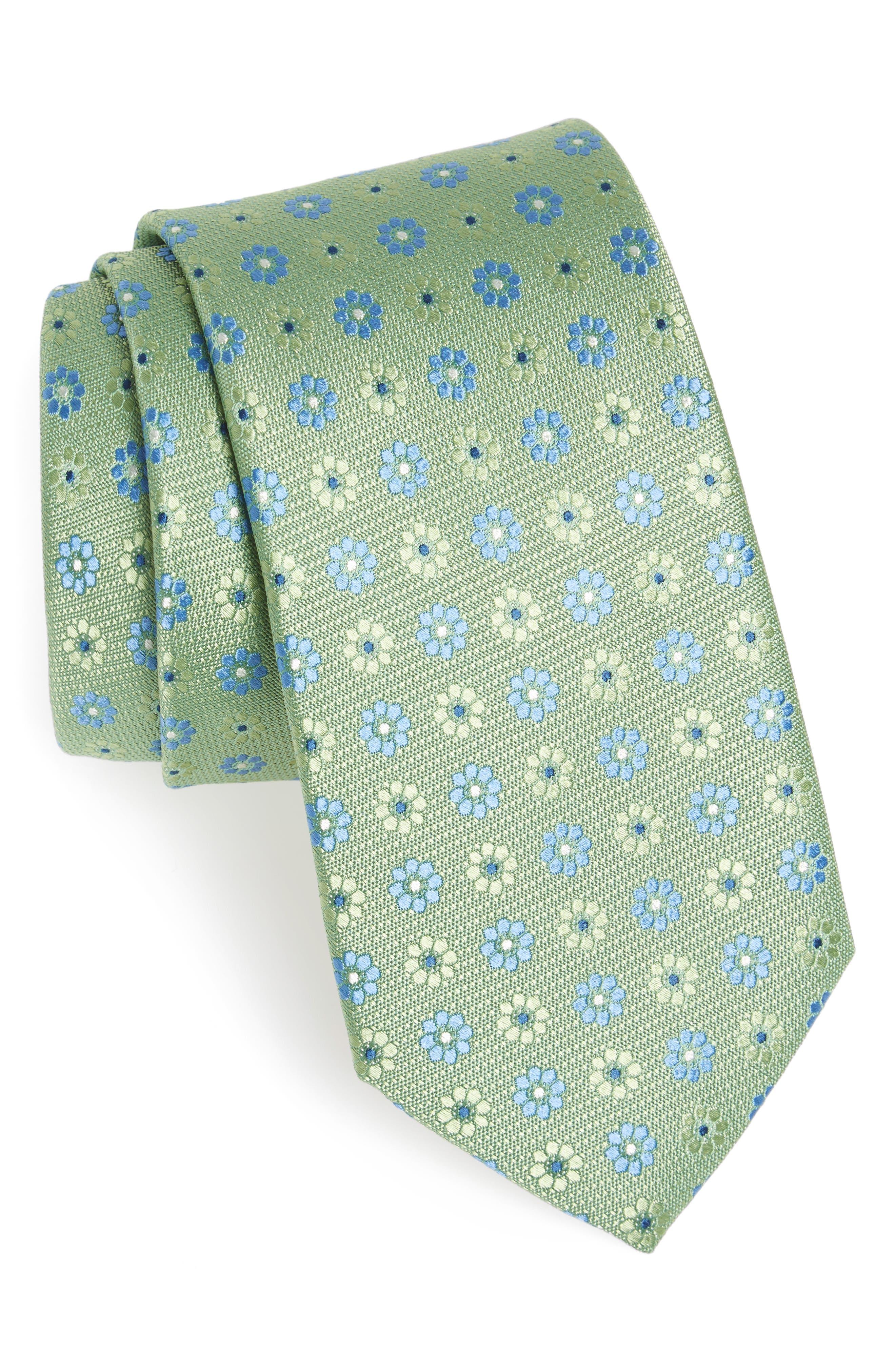 John W. Nordstrom Floral Silk Tie,                             Main thumbnail 1, color,                             Green