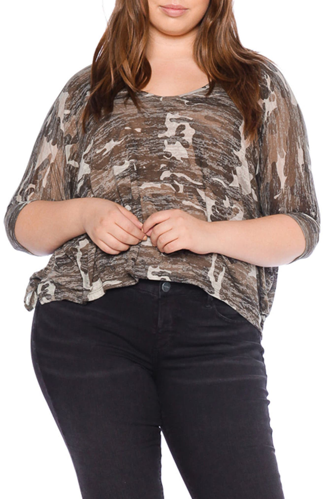 Alternate Image 1 Selected - SLINK JEANS Camo Print Shirt (Plus Size)