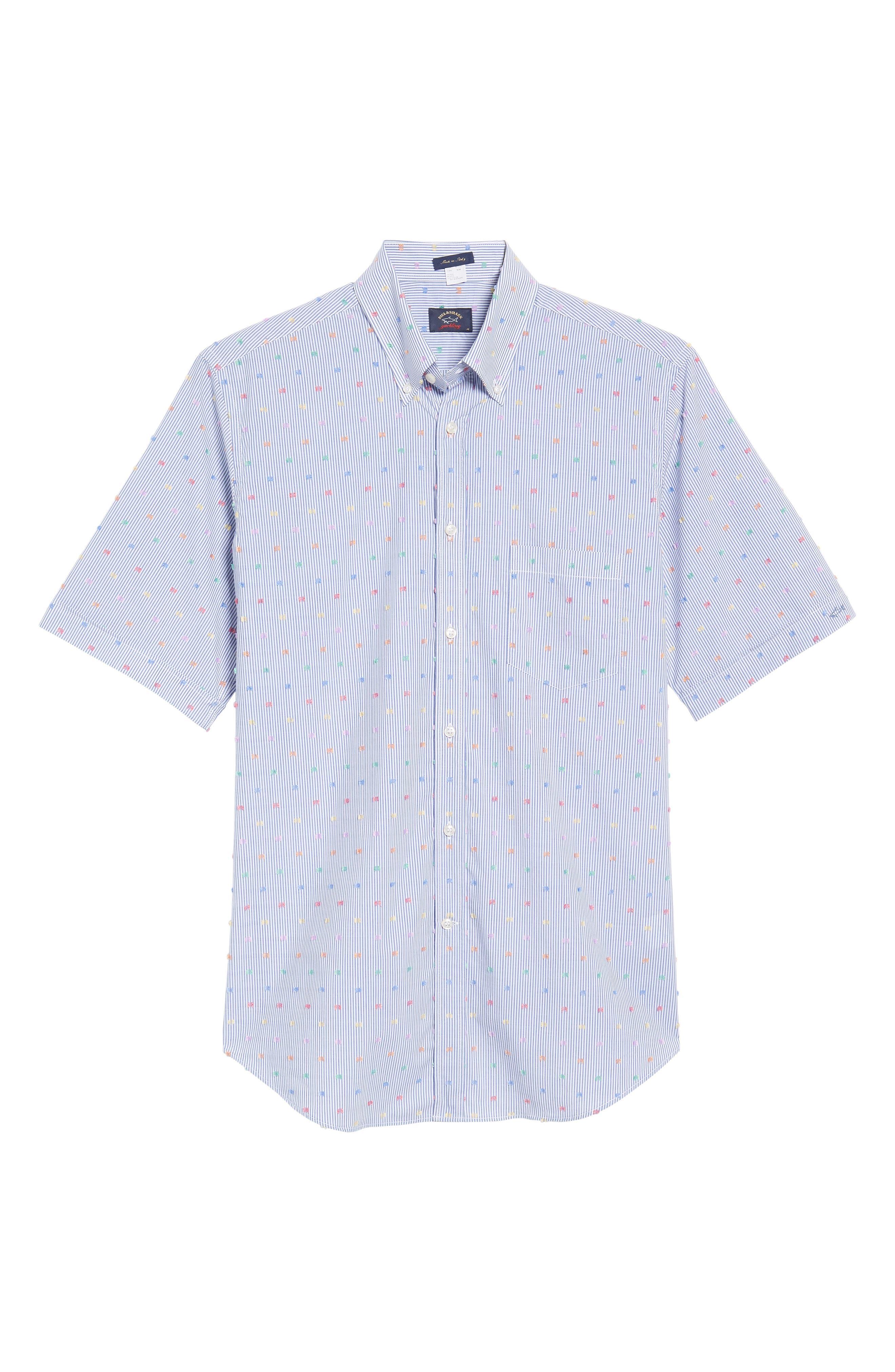 Paul&Shark Fin Stripe Sport Shirt,                             Alternate thumbnail 6, color,                             Blue/ White/ Multi