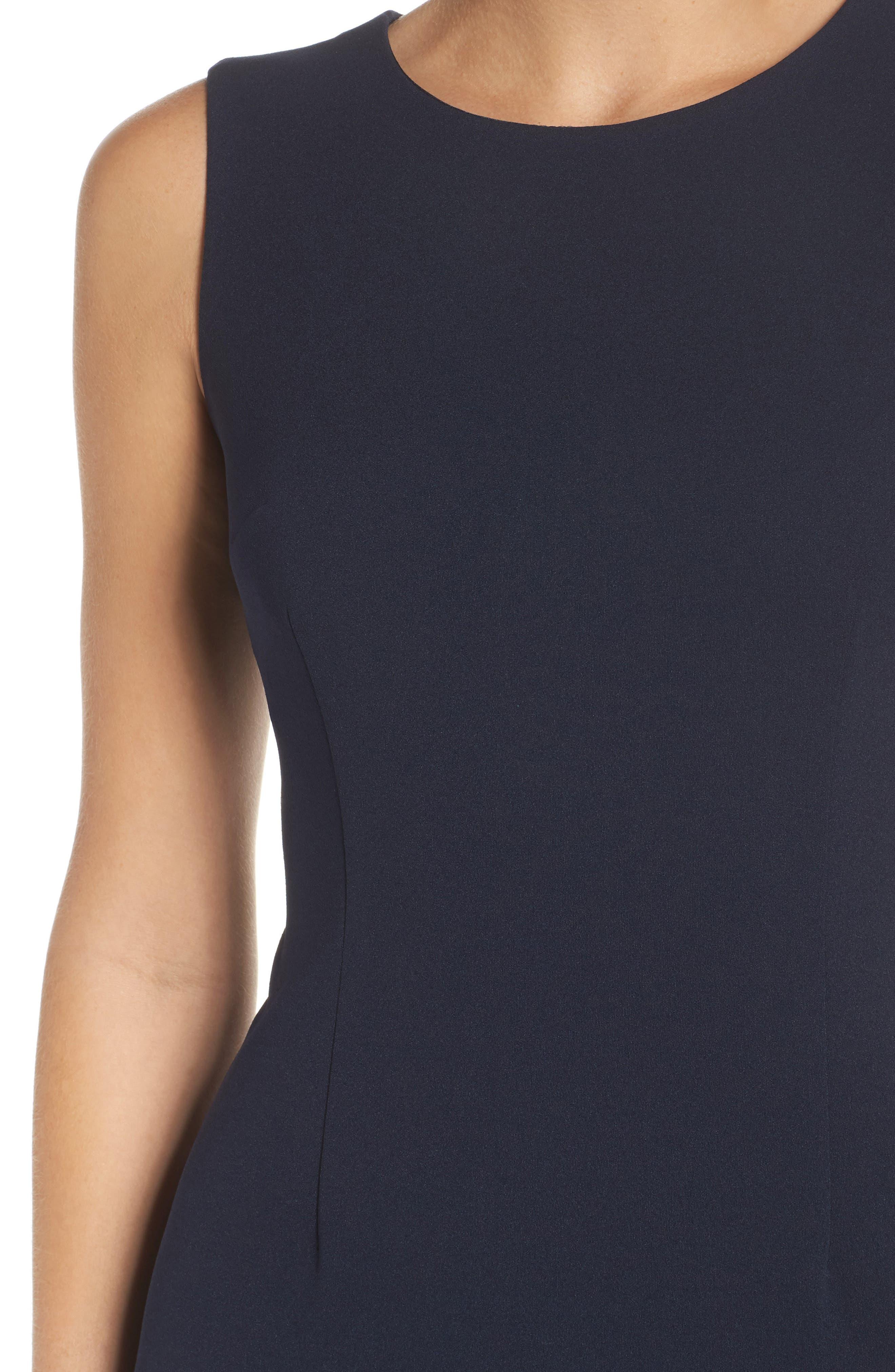 Knit Crepe Sheath Dress,                             Alternate thumbnail 4, color,                             Blue Moon