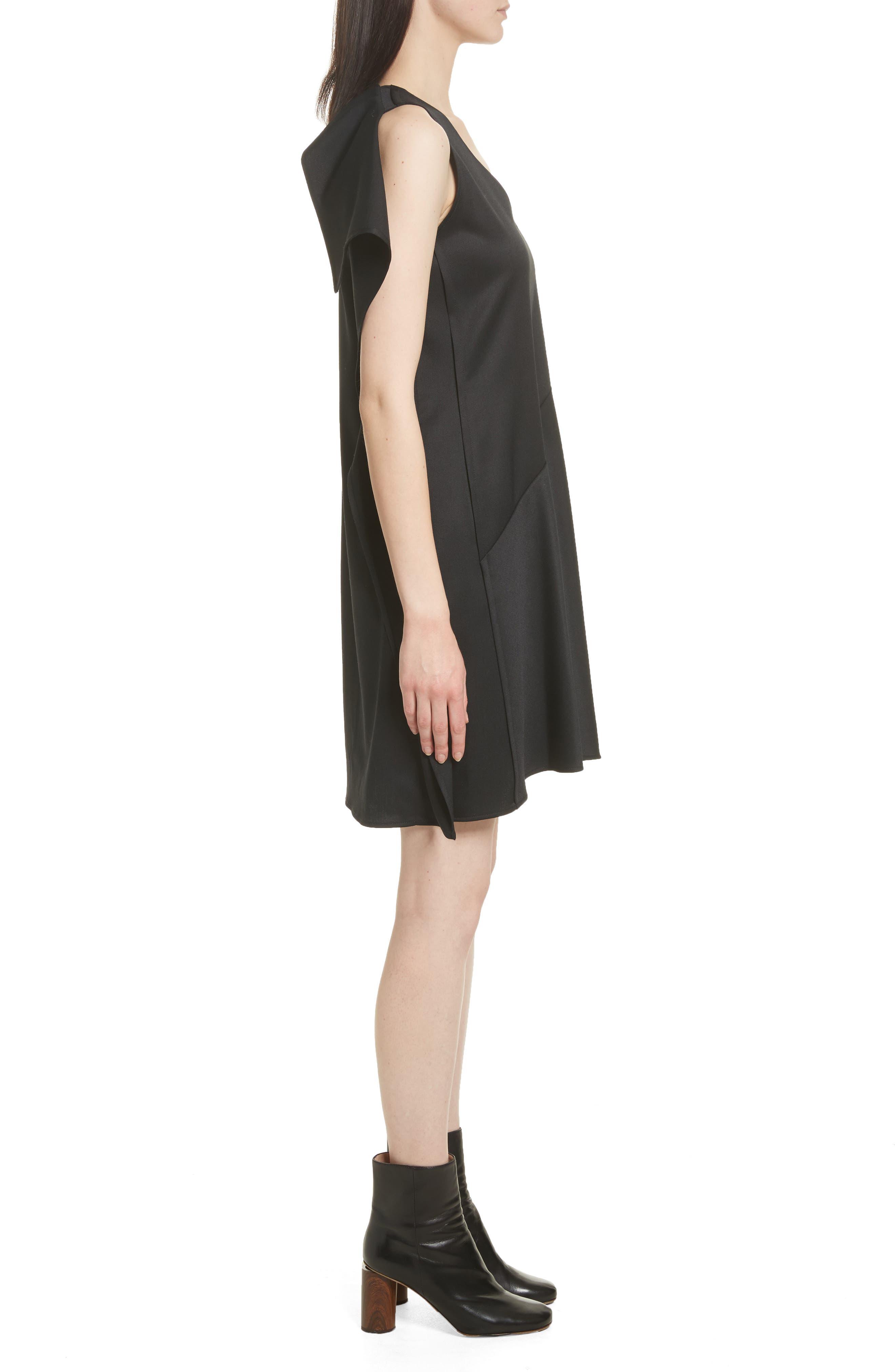 Ruffle Back Twill Dress,                             Alternate thumbnail 3, color,                             Black
