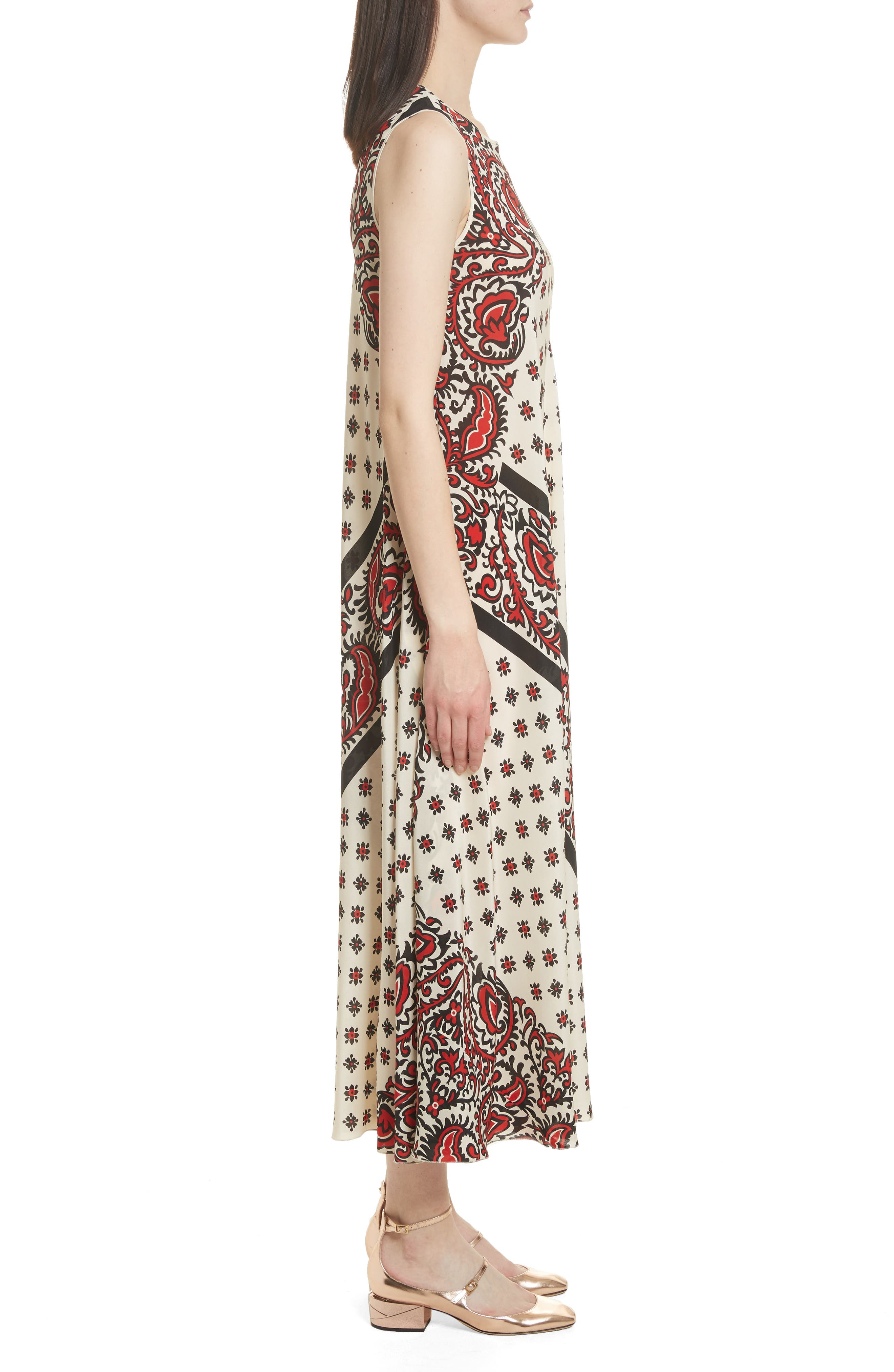 Print Silk Midi Dress,                             Alternate thumbnail 3, color,                             Cherry