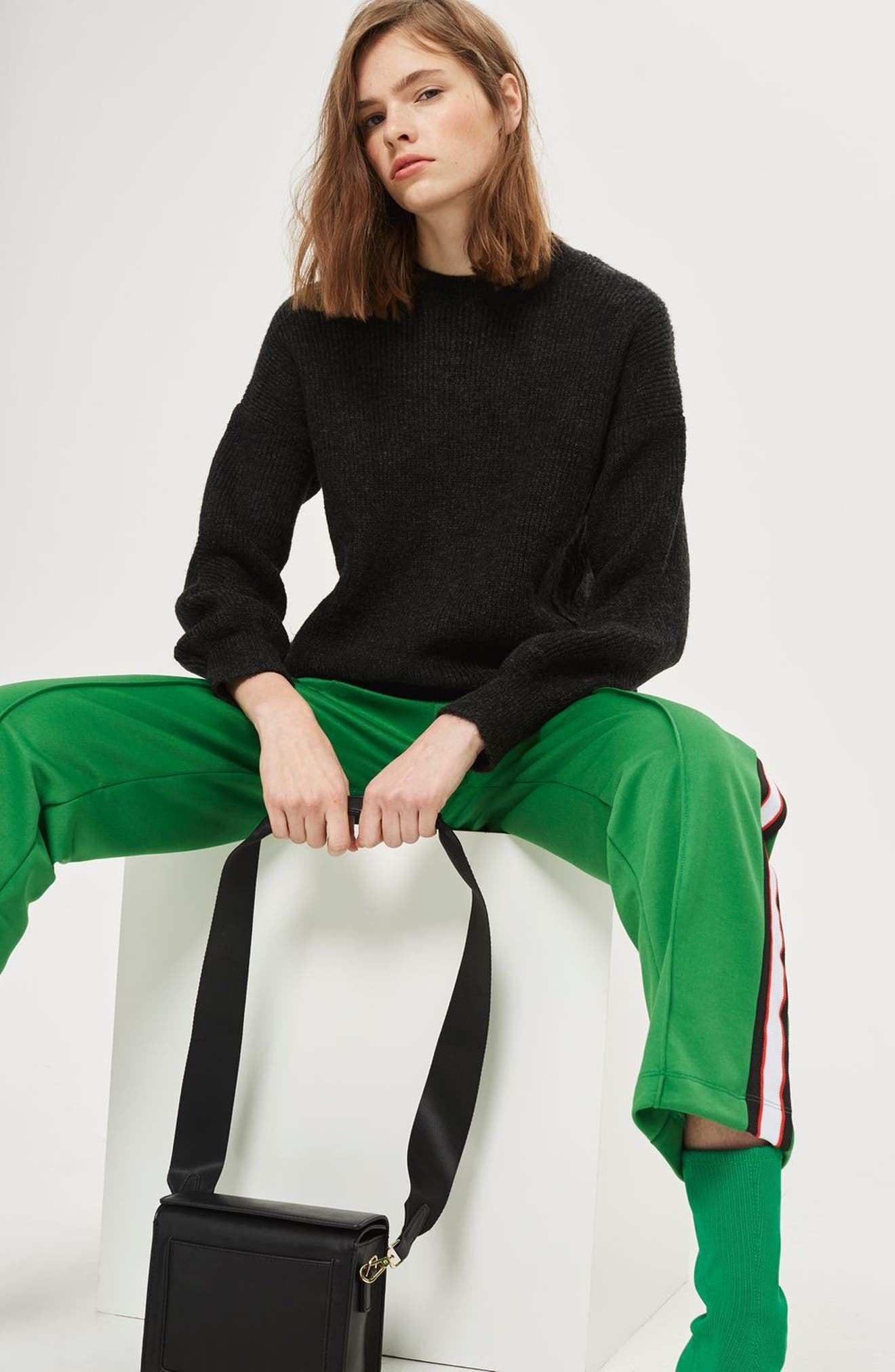 High/Low Ribbed Sweater,                             Alternate thumbnail 4, color,                             Charcoal