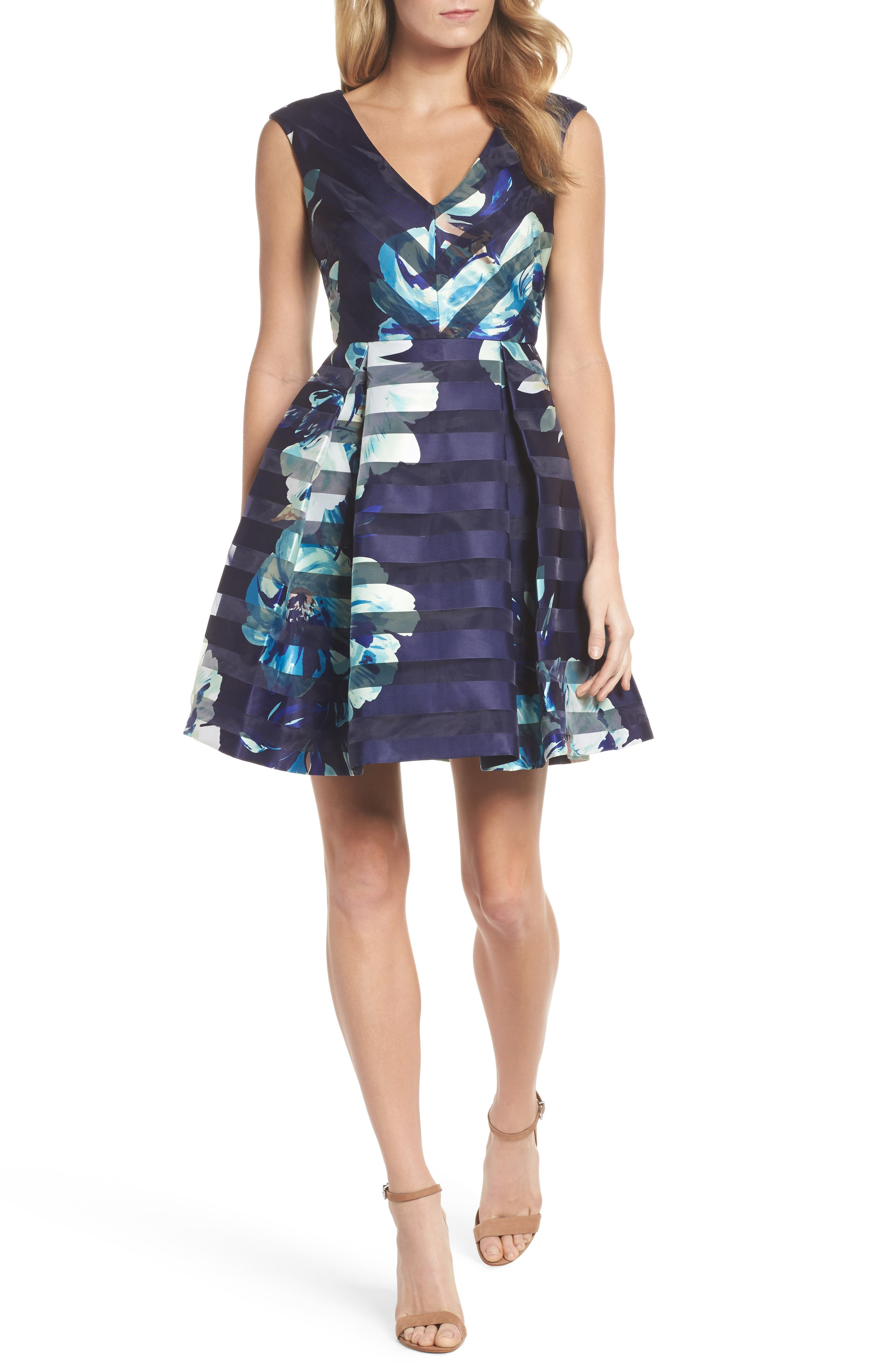Shadow Stripe Fit & Flare Dress,                         Main,                         color, Navy