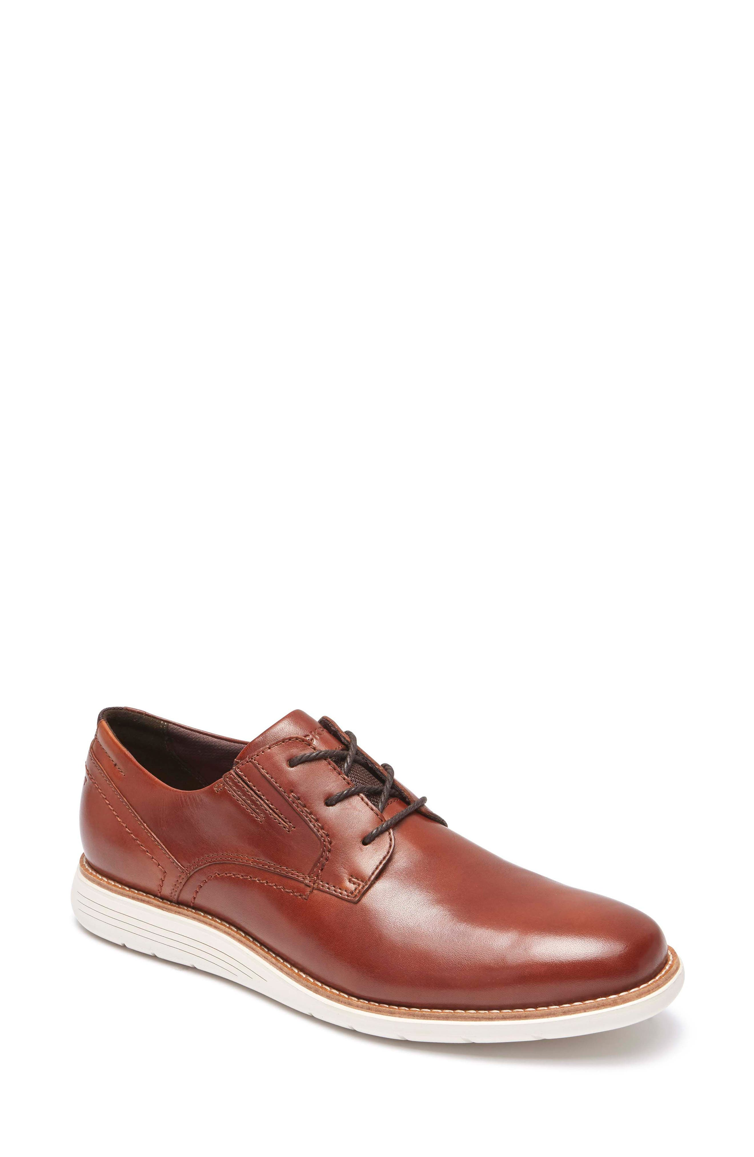 Total Motion Sport Plain Toe Derby,                         Main,                         color, Tan Leather