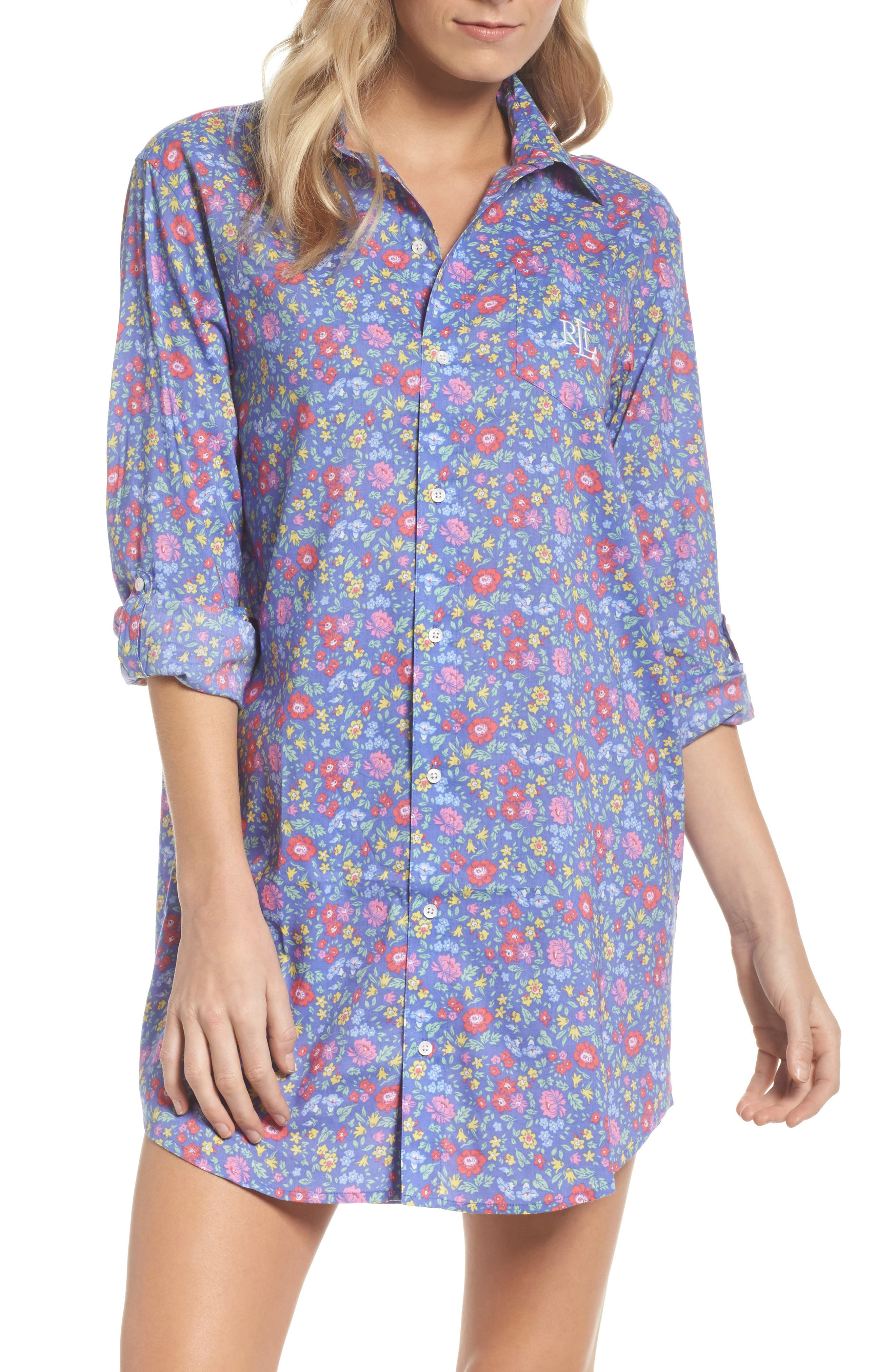 His Night Shirt,                         Main,                         color, Blue Floral