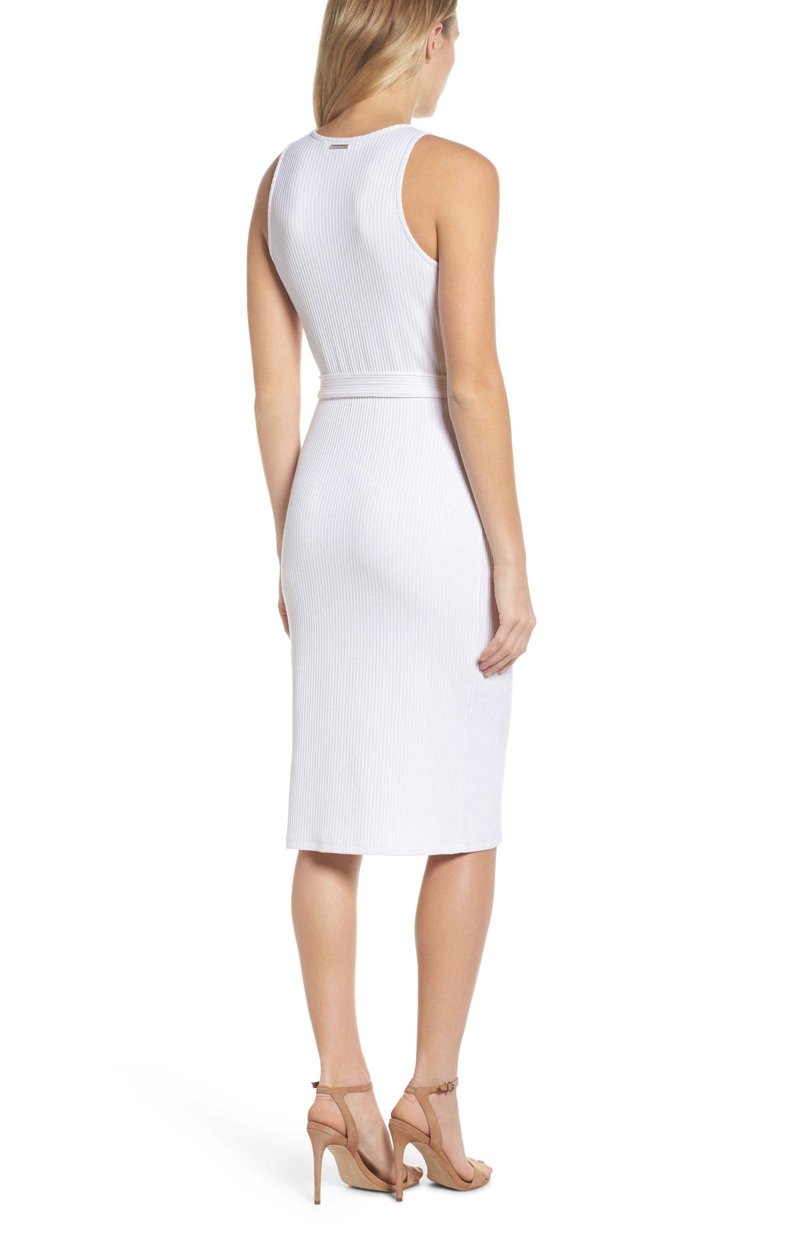 Belted Rib Knit Dress,                             Alternate thumbnail 2, color,                             White