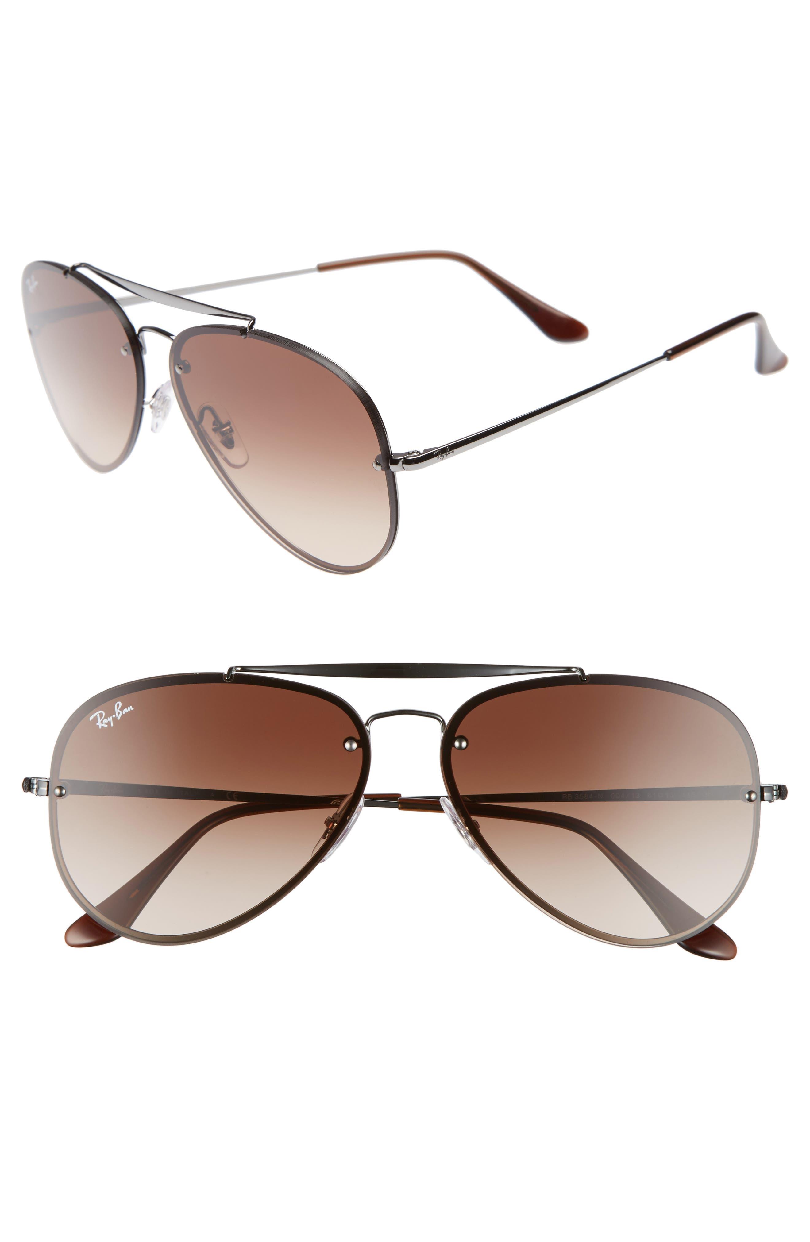 Blaze 61mm Aviator Sunglasses,                         Main,                         color, Gunmetal/ Brown