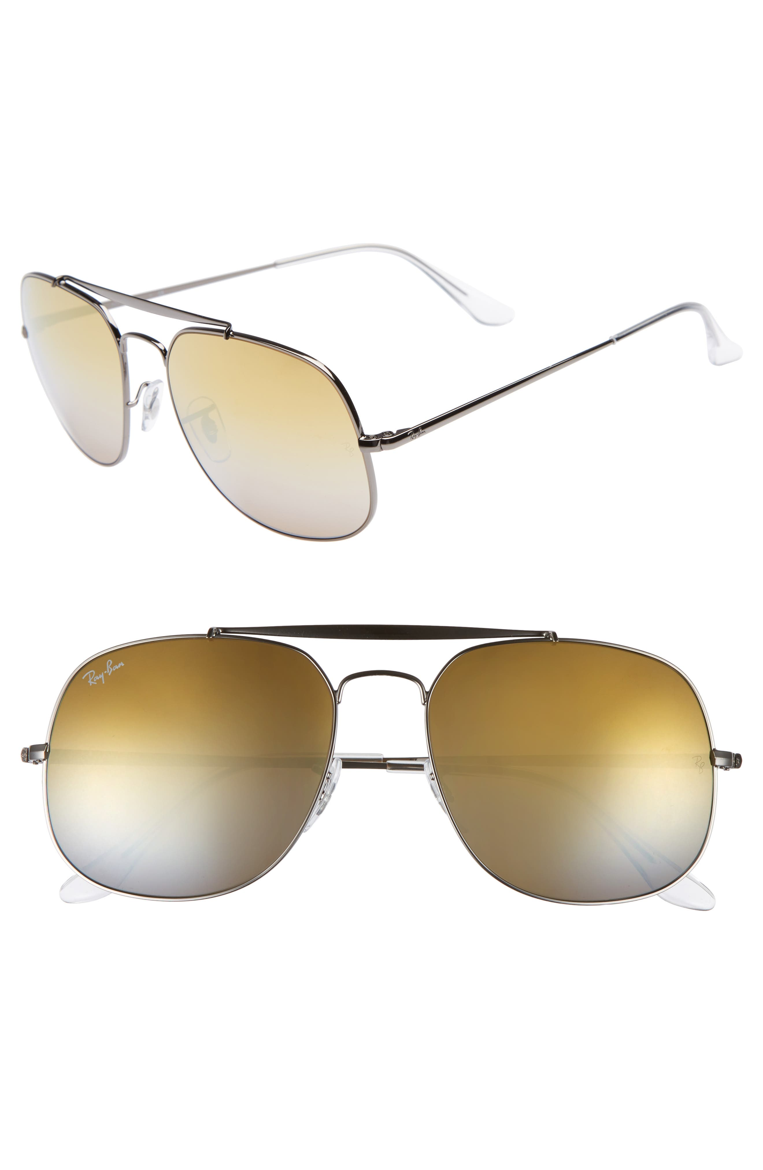 The General 57mm Aviator Sunglasses,                         Main,                         color, Grey/ Orange