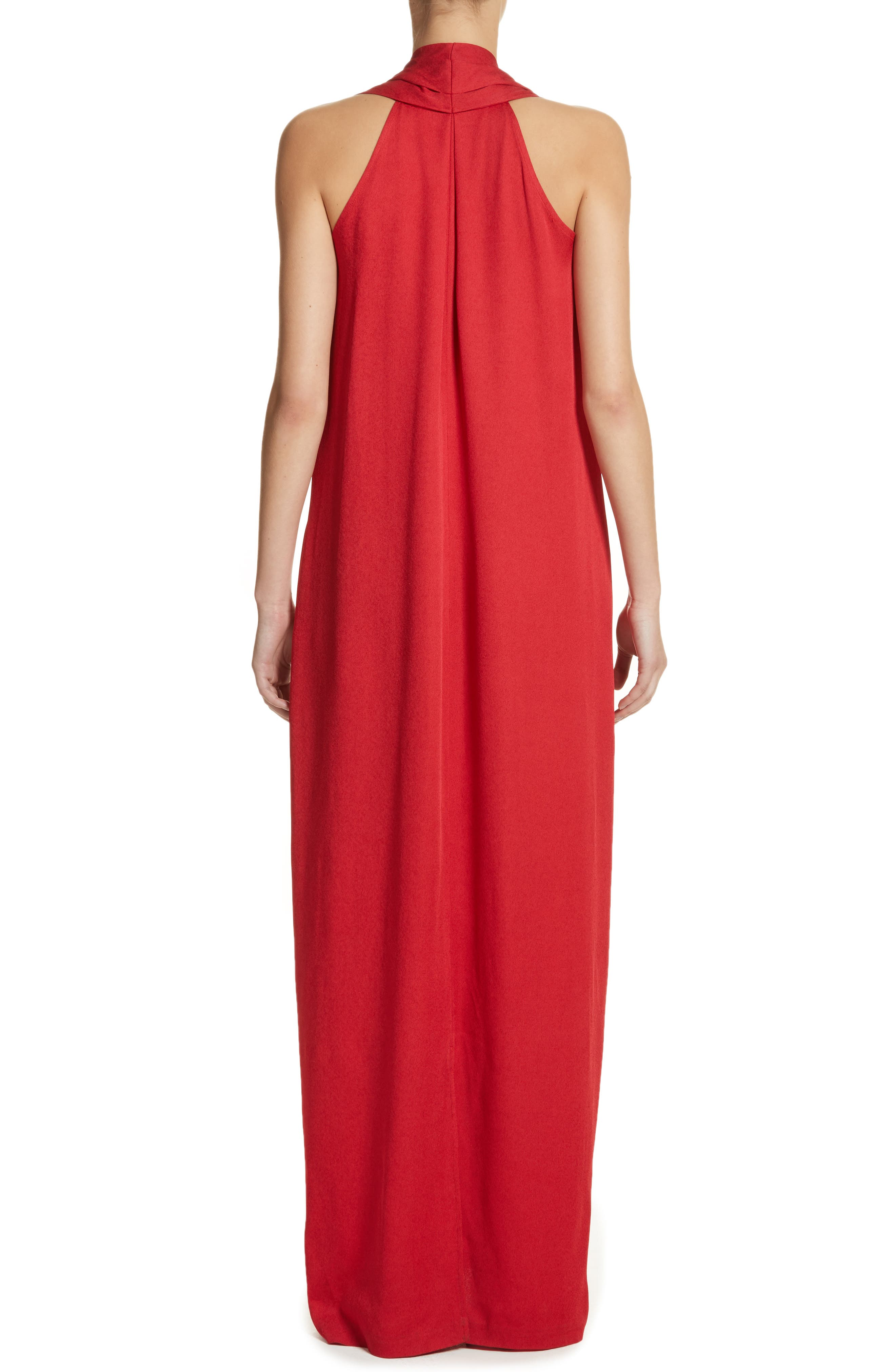 Eco Gathered Maxi Dress,                             Alternate thumbnail 2, color,                             Poppy