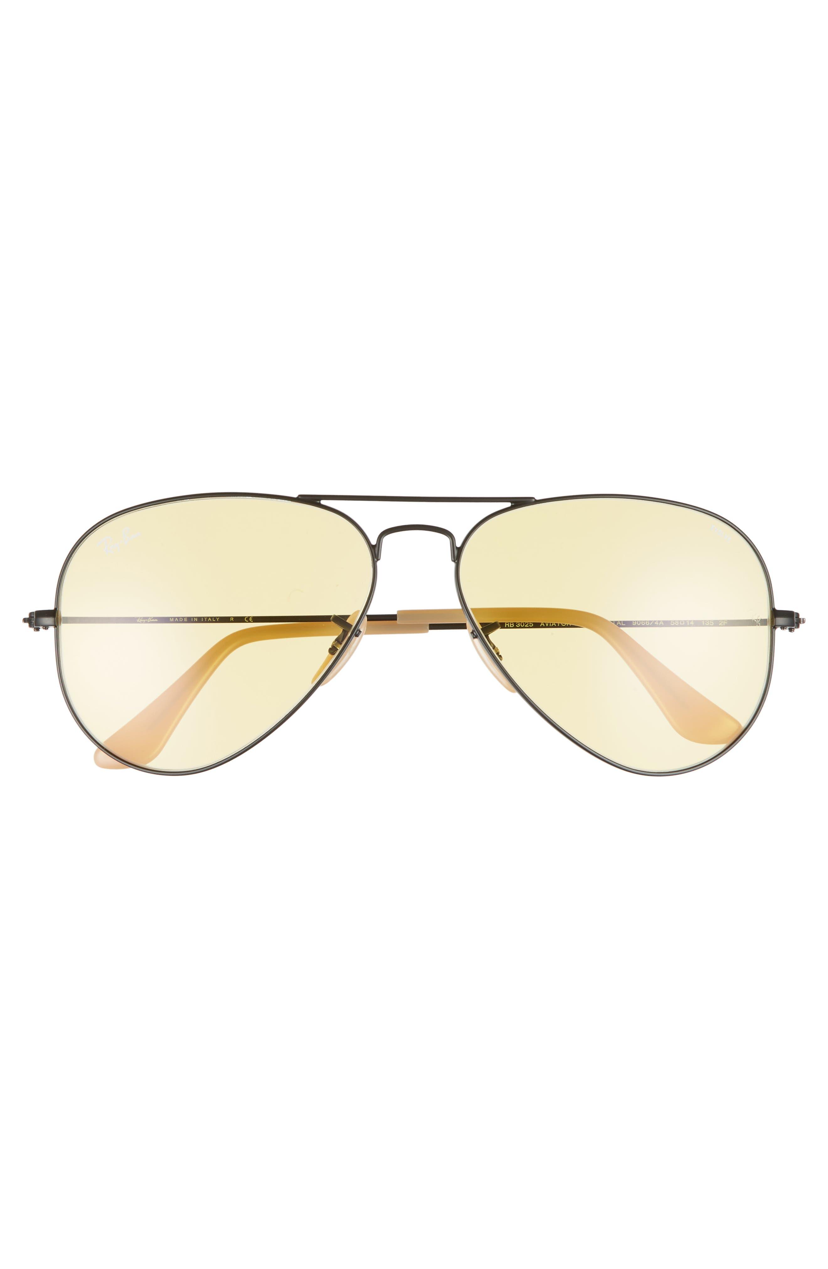 Evolve 58mm Polarized Aviator Sunglasses,                             Alternate thumbnail 2, color,                             Black