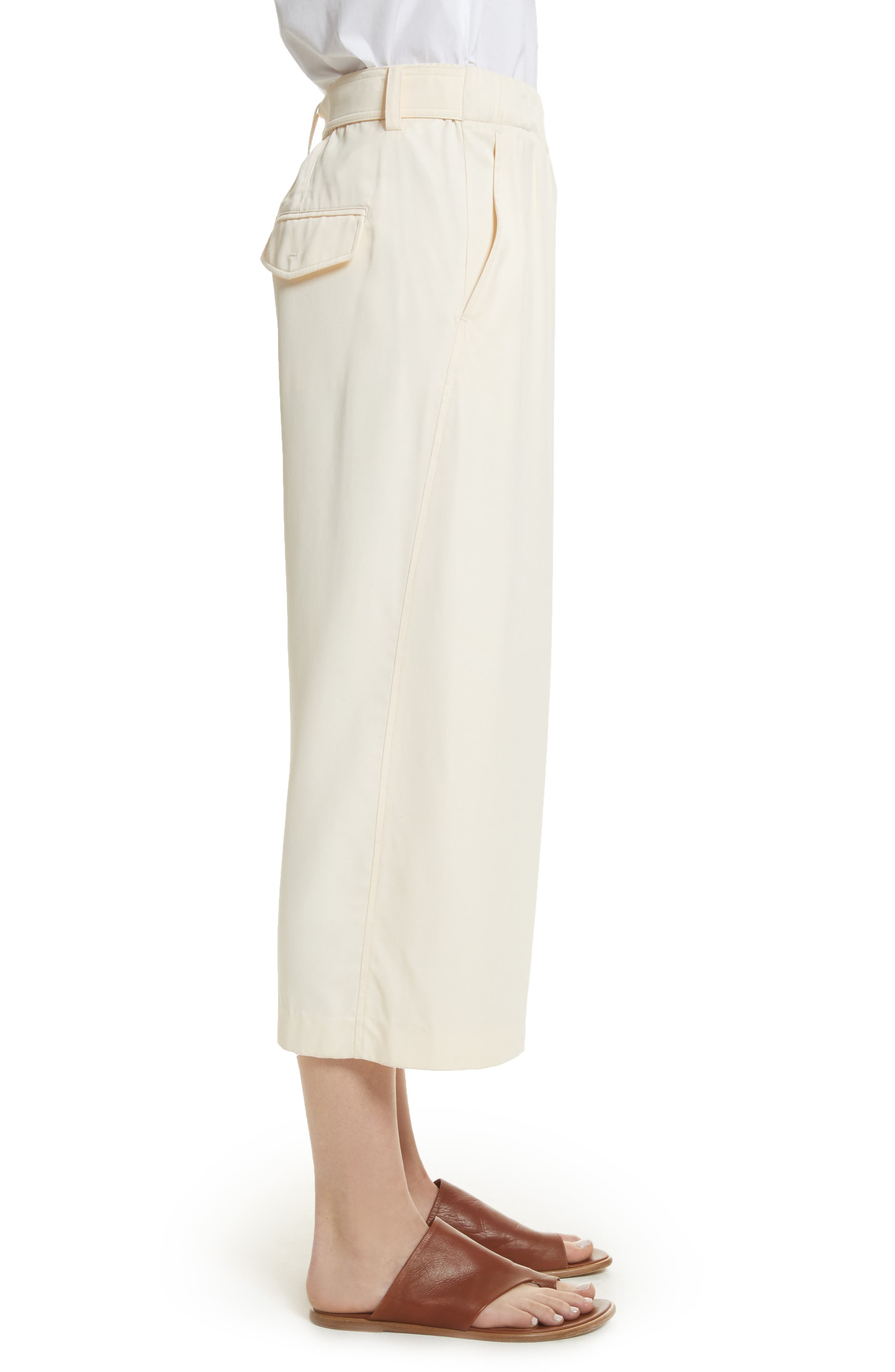 Belted Crossover Culottes,                             Alternate thumbnail 3, color,                             Buttercream
