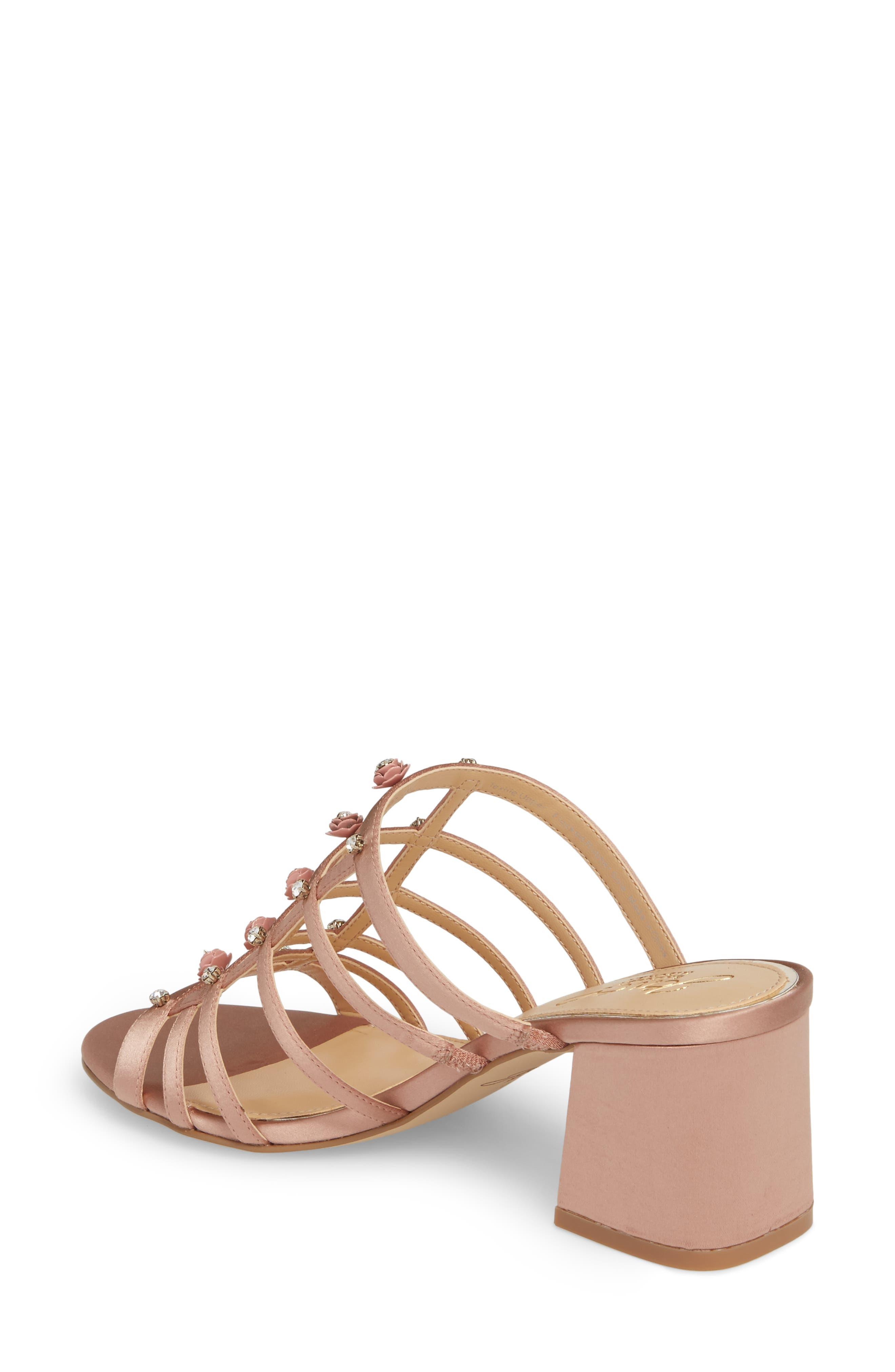 Thorne Crystal Rose Embellished Slide Sandal,                             Alternate thumbnail 2, color,                             Dark Blush Satin