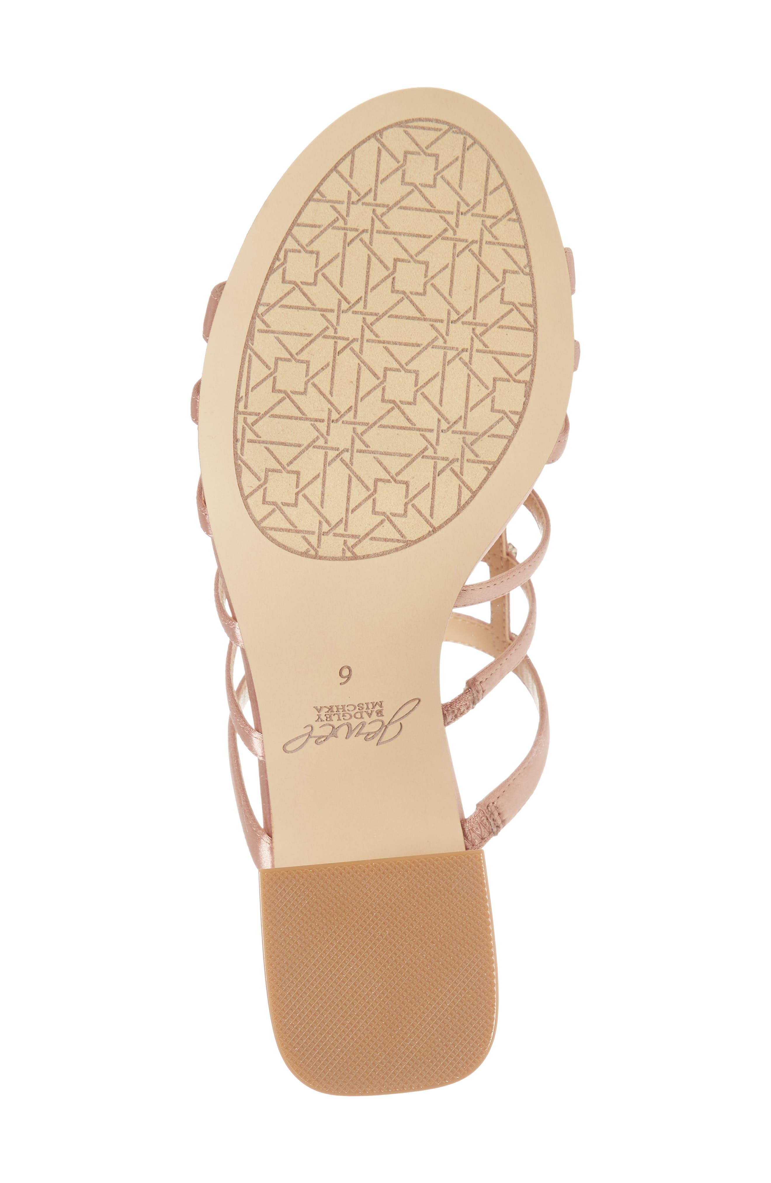 Thorne Crystal Rose Embellished Slide Sandal,                             Alternate thumbnail 6, color,                             Dark Blush Satin