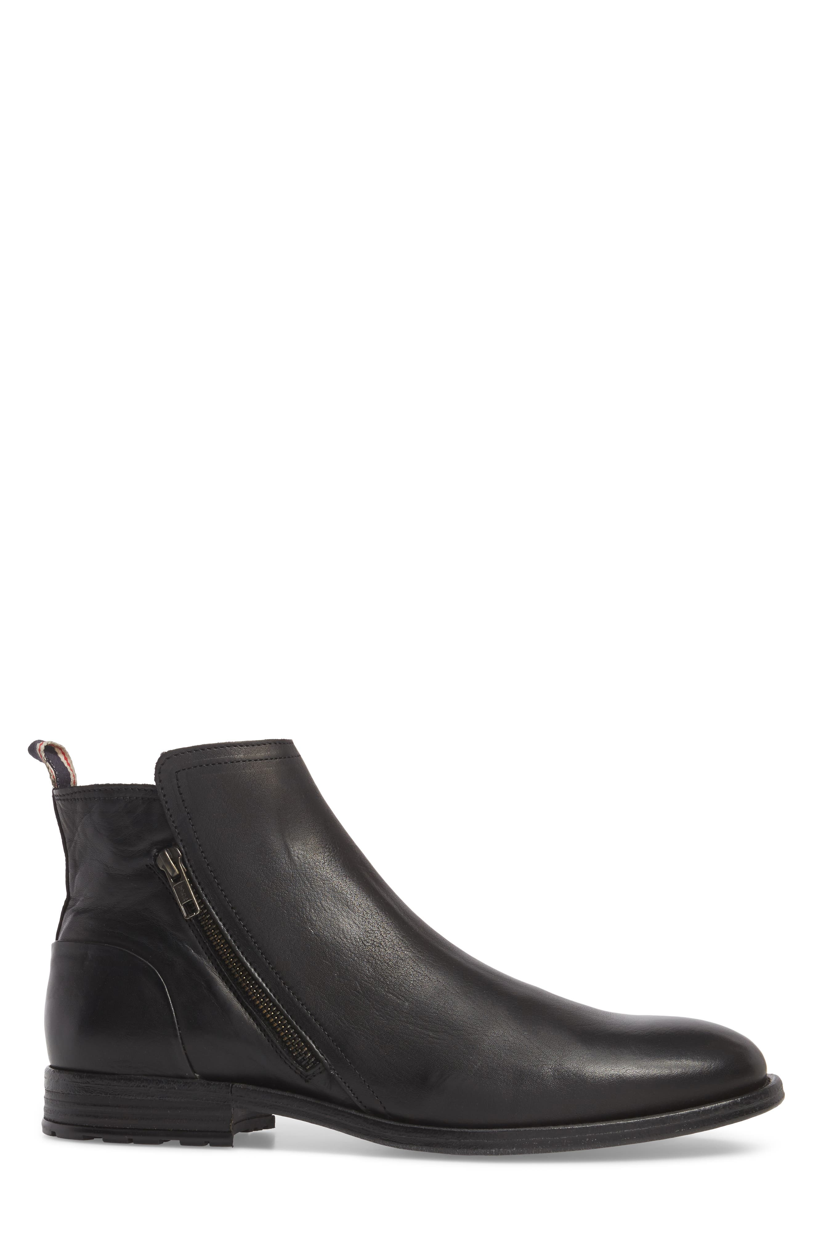 Gerone Zip Boot,                             Alternate thumbnail 3, color,                             Black Leather Fabric