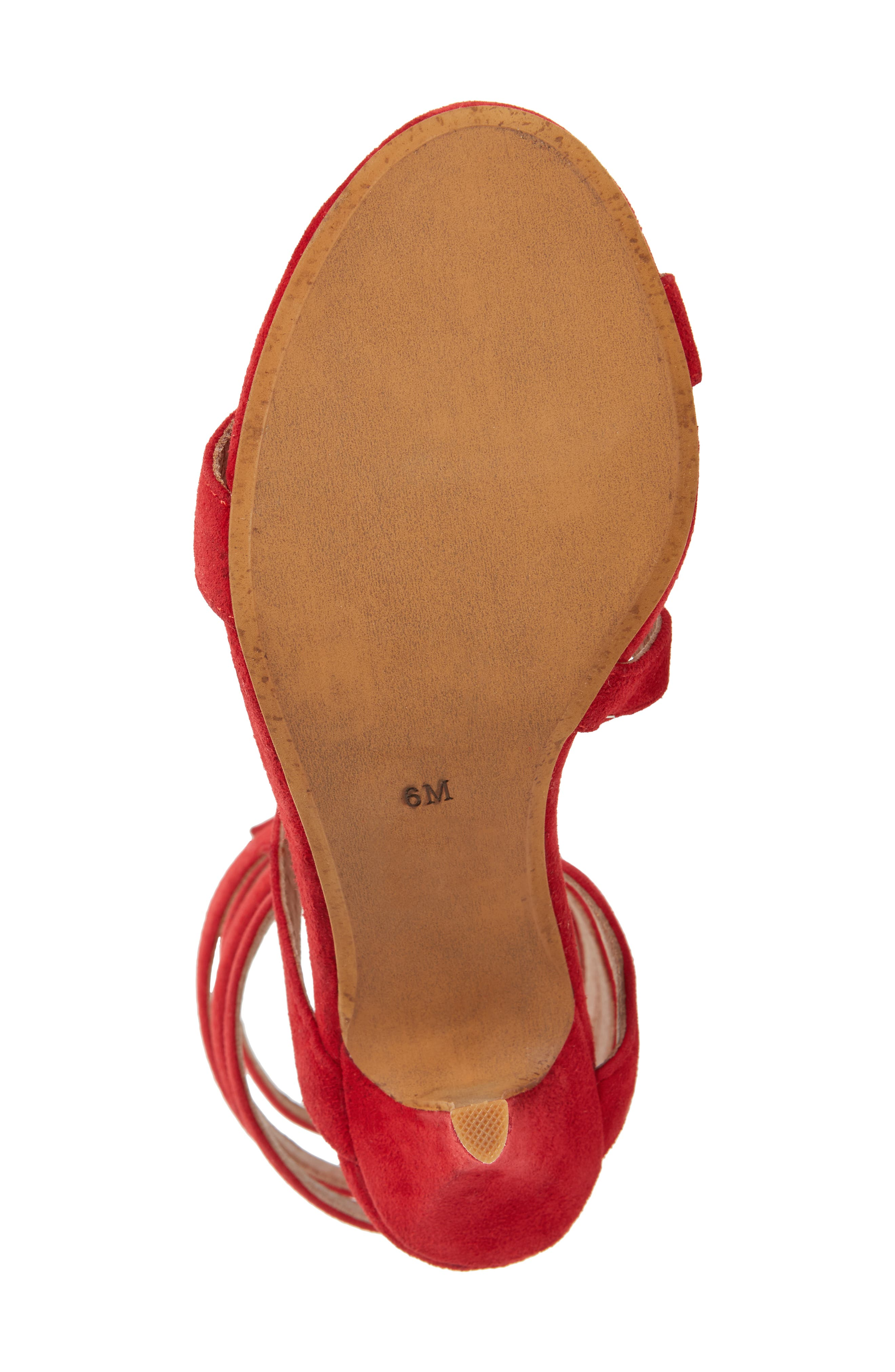 Meline-KH Tall Coil Sandal,                             Alternate thumbnail 6, color,                             Red Suede