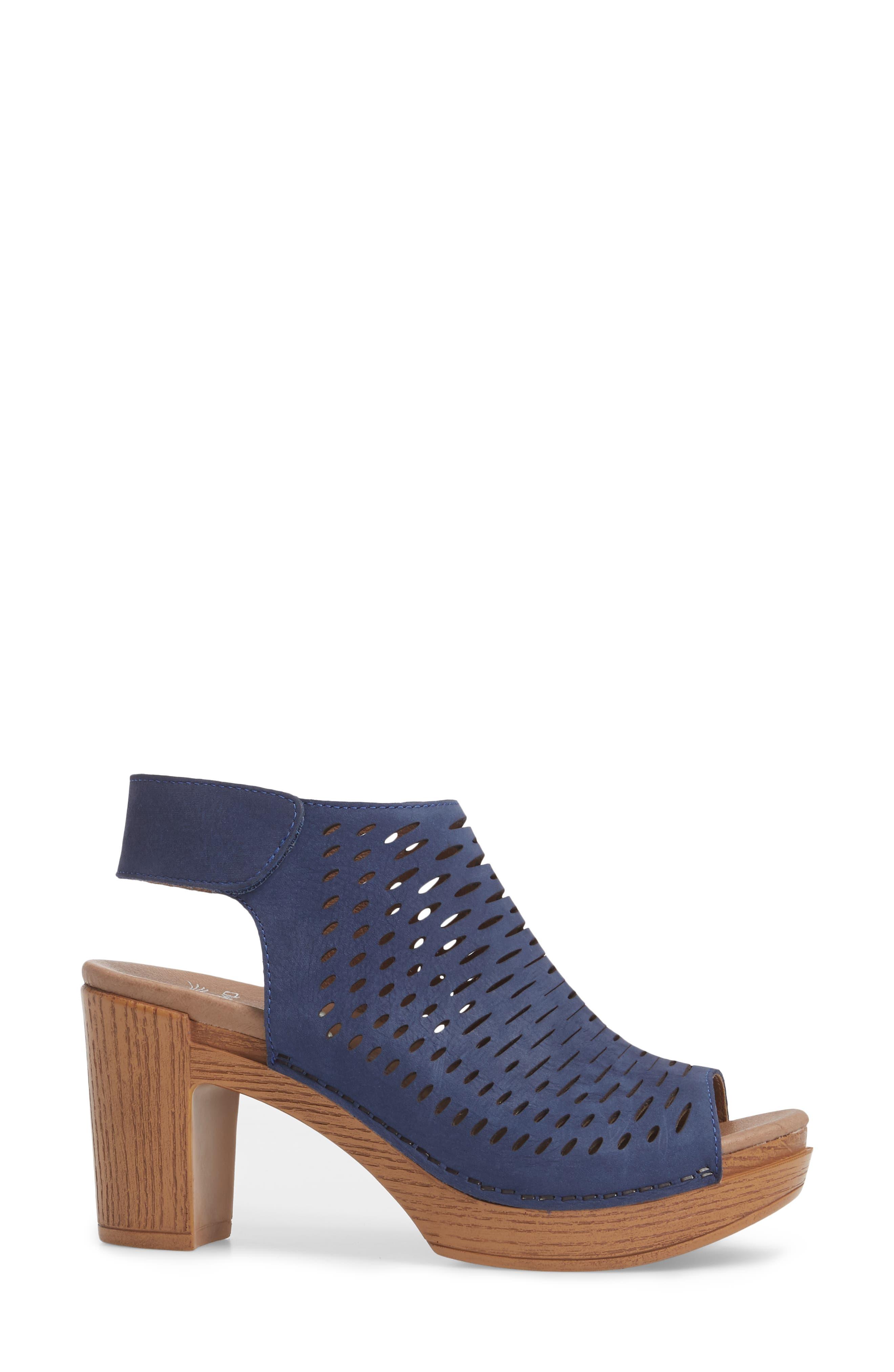 Danae Block Heel Sandal,                             Alternate thumbnail 3, color,                             Blue Milled Nubuck Leather
