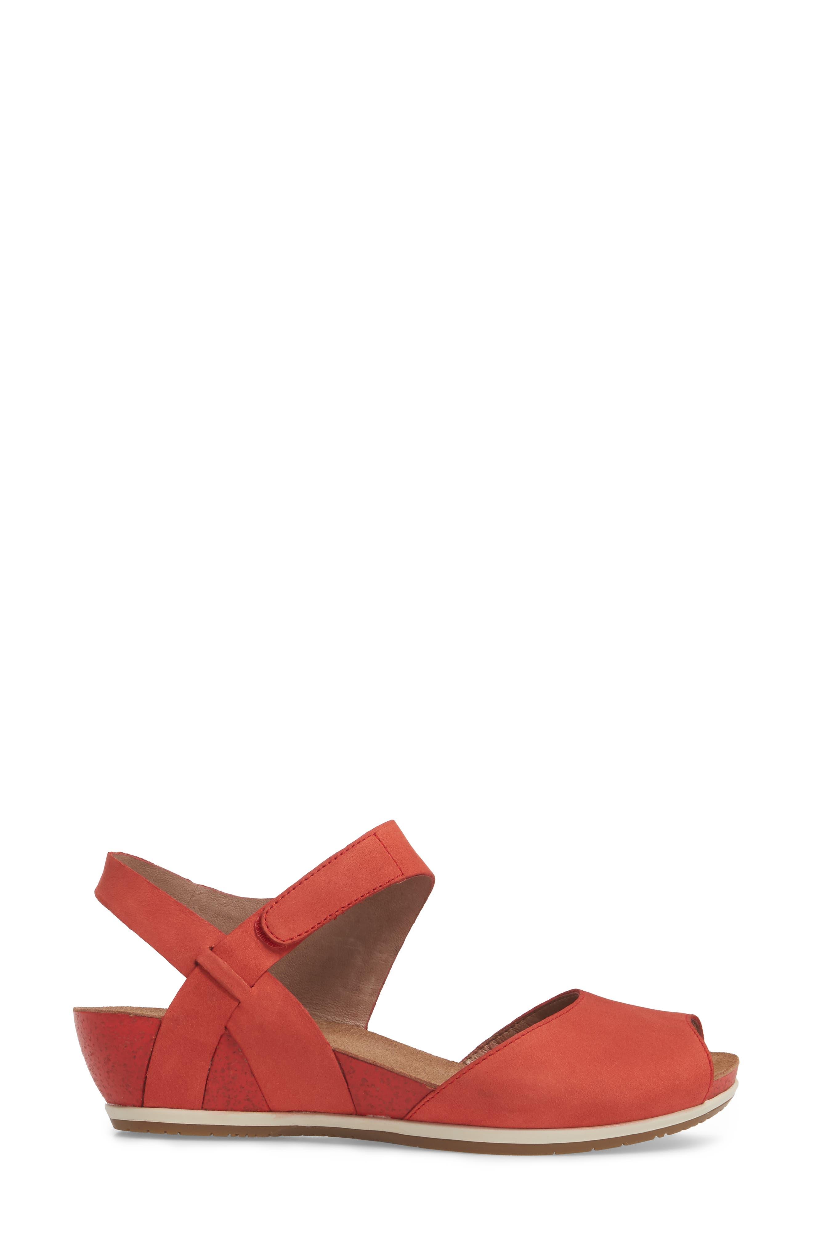 Vera Sandal,                             Alternate thumbnail 3, color,                             Tomato Milled Nubuck Leather