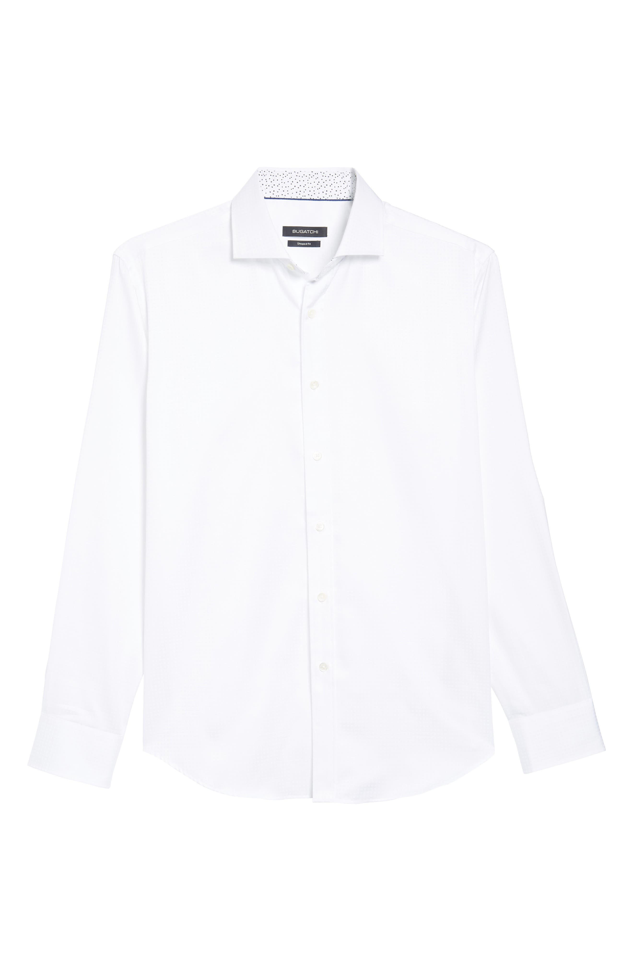 Shaped Fit Check Sport Shirt,                             Alternate thumbnail 6, color,                             White