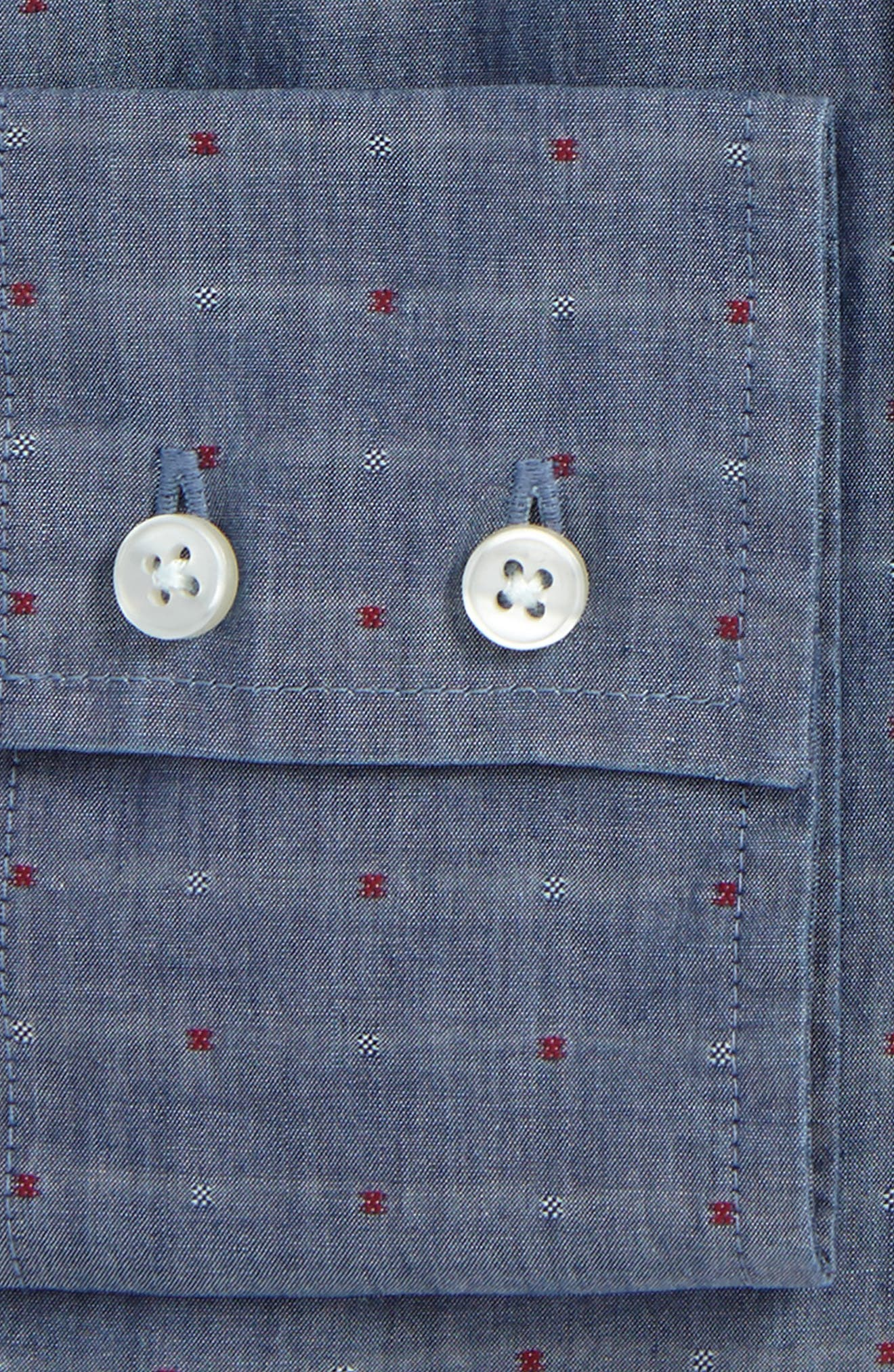 Trim Fit Dot Dress Shirt,                             Alternate thumbnail 2, color,                             Indigo