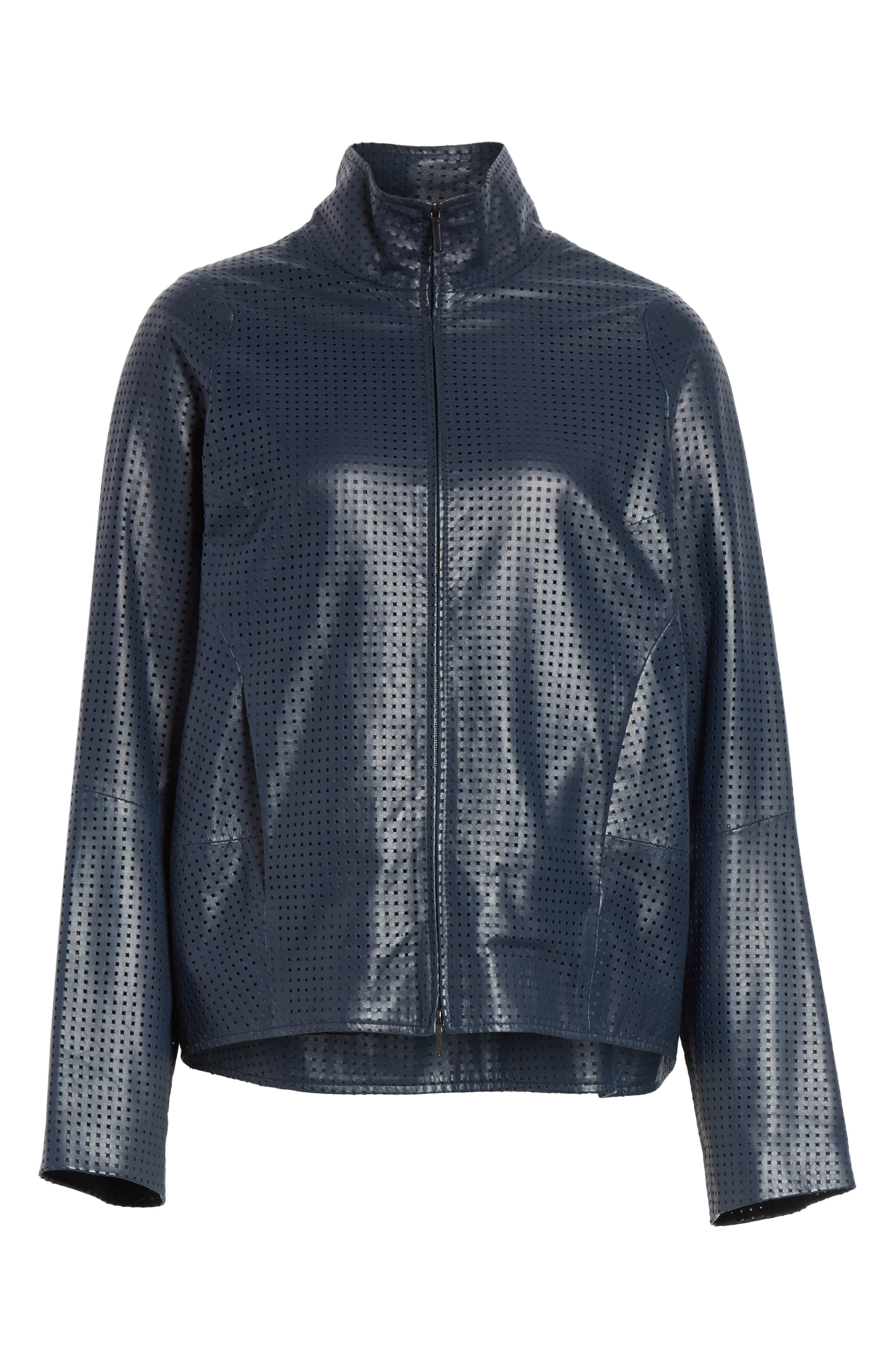 Perforated Nappa Leather Jacket,                             Alternate thumbnail 7, color,                             Ink Jet