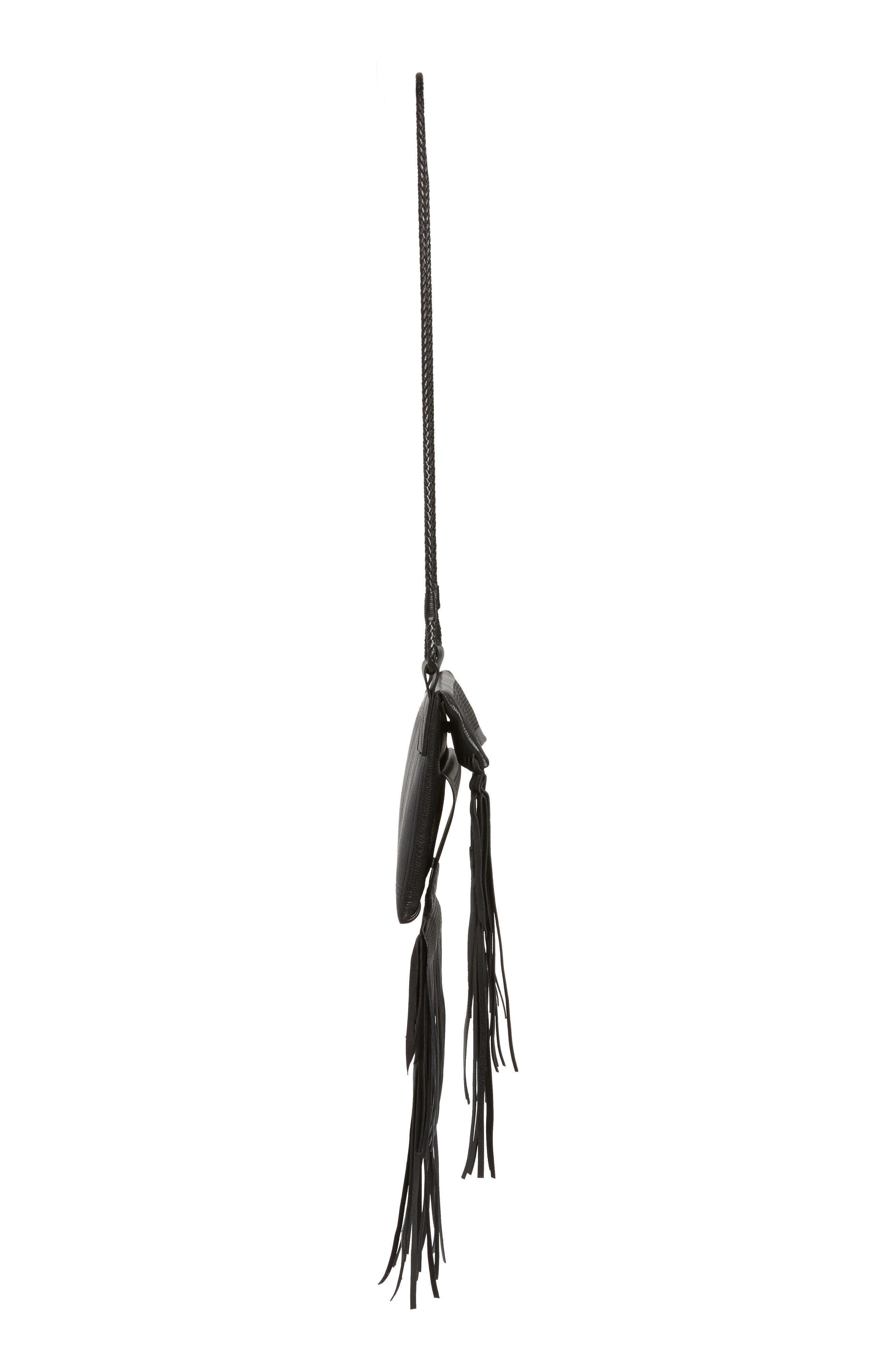 Saharienne Fringe Leather Crossbody Bag,                             Alternate thumbnail 4, color,                             Noir