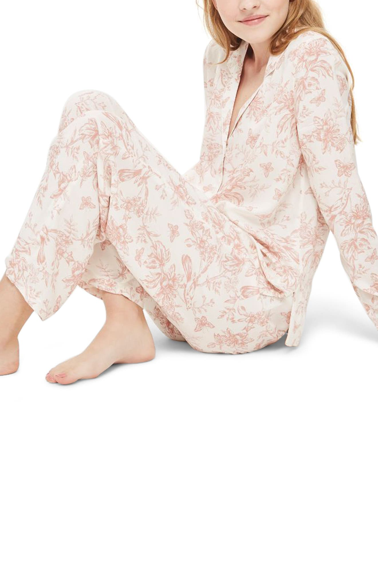 French Floral Pajamas,                         Main,                         color, Light Pink Multi