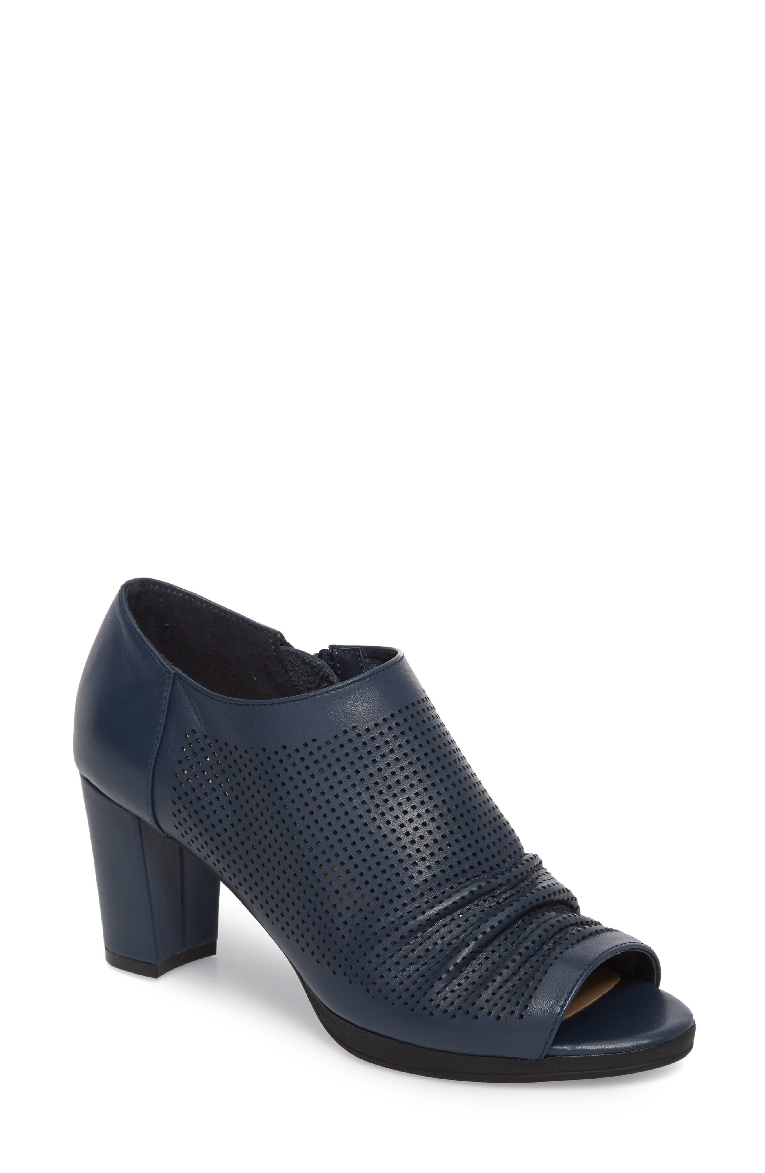 Liza Open Toe Bootie,                             Main thumbnail 1, color,                             Navy Leather