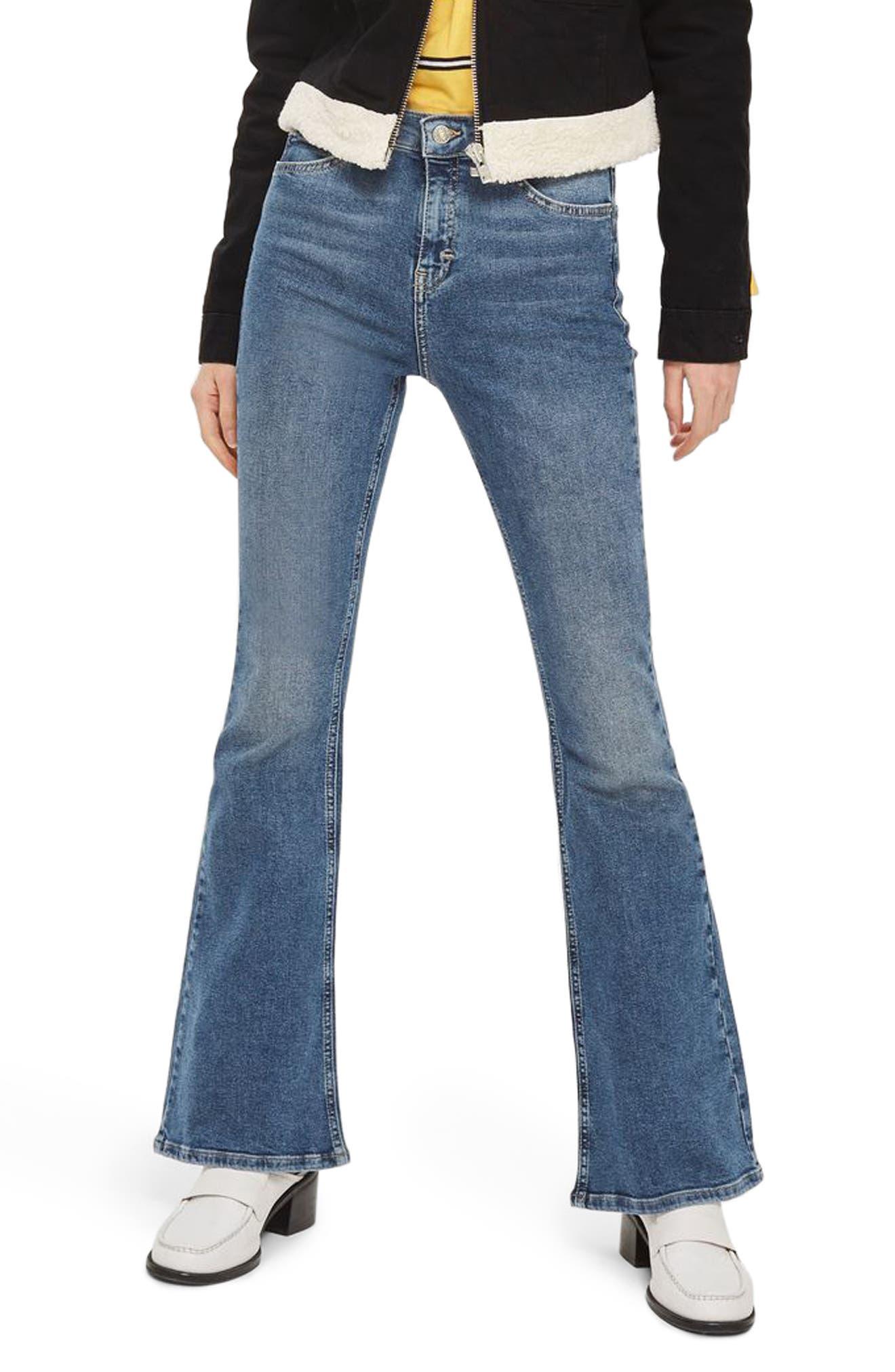 Jamie Flare Leg Jeans,                             Main thumbnail 1, color,                             Mid Denim