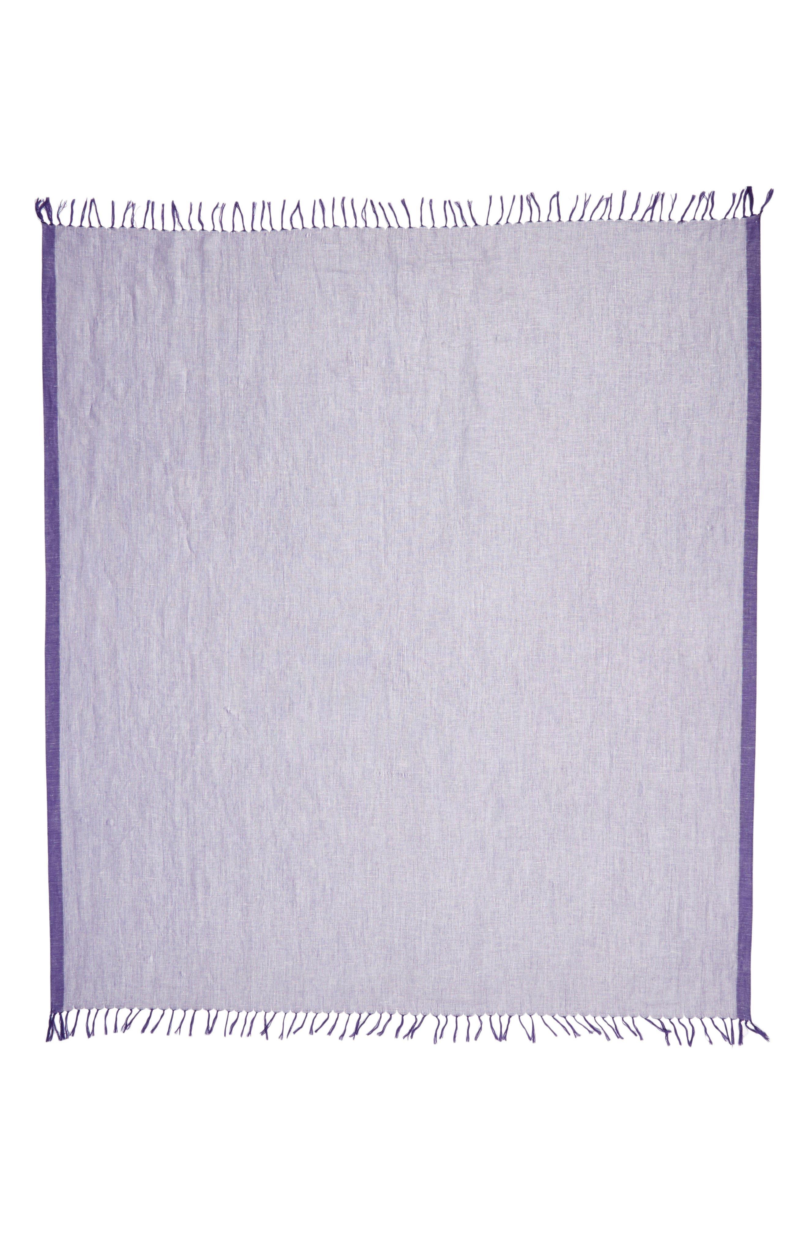 Cross Dyed Linen Blend Scarf,                             Alternate thumbnail 3, color,                             Purple Orient Combo