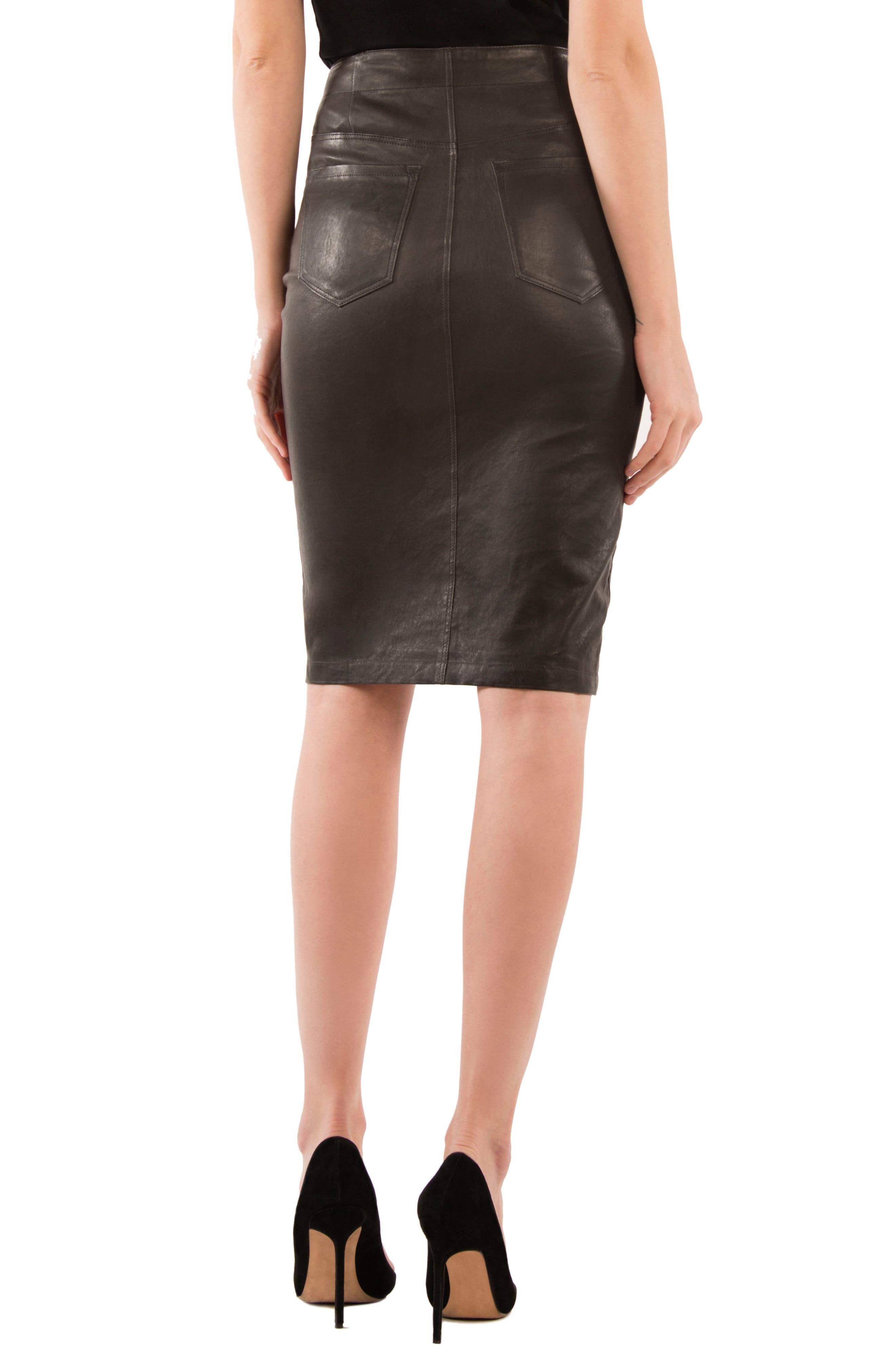 Natasha High Waist Leather Skirt,                             Alternate thumbnail 2, color,                             Dark Platinum