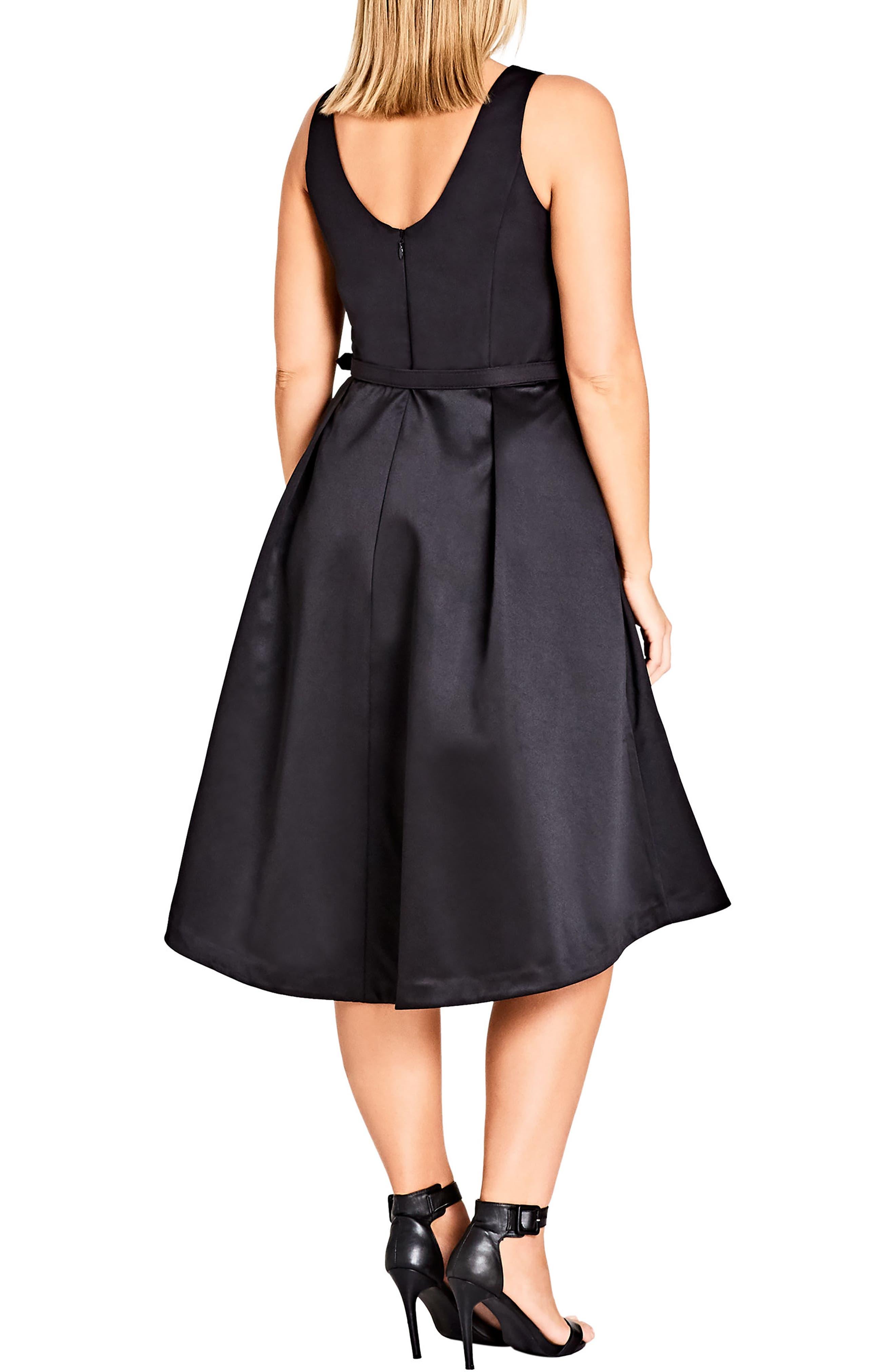 Audrey Fit & Flare Dress,                             Alternate thumbnail 2, color,                             Black